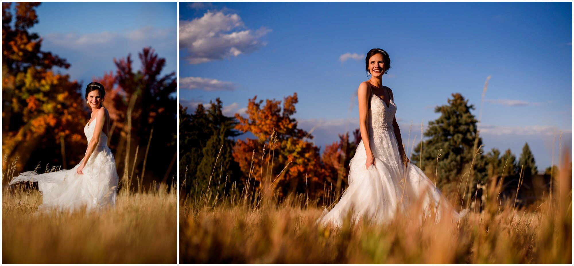 bride dances in front of fall color trees