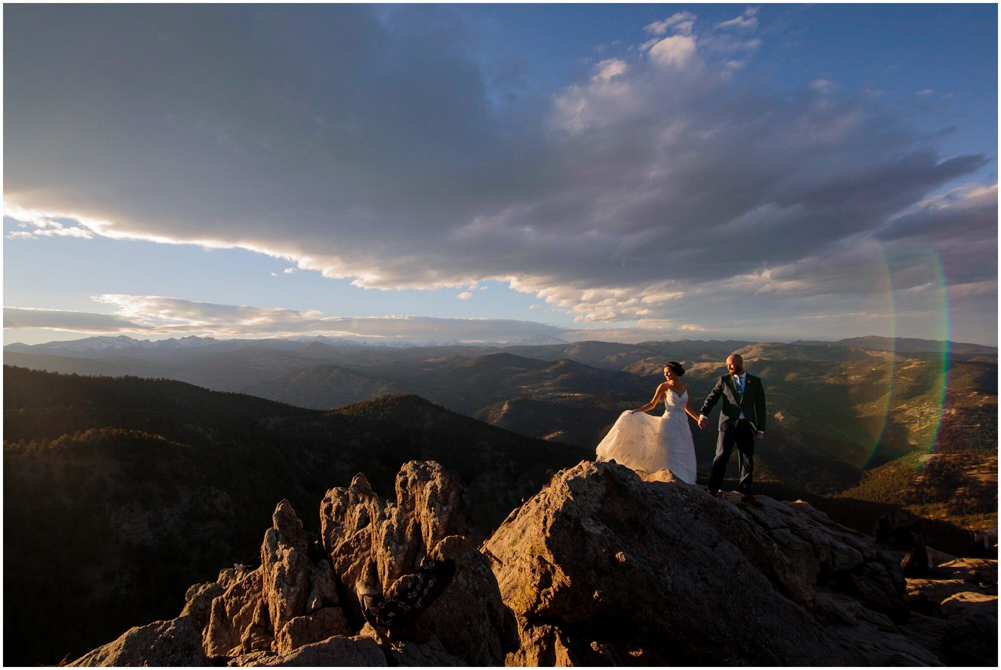 Colorado sunset mountain wedding photo