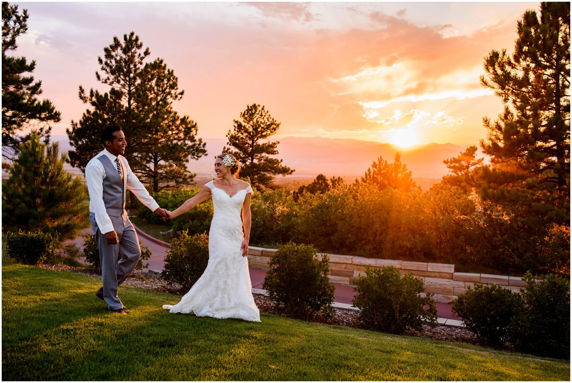 Sanctuary Golf Course wedding - bride and groom walking as sunset
