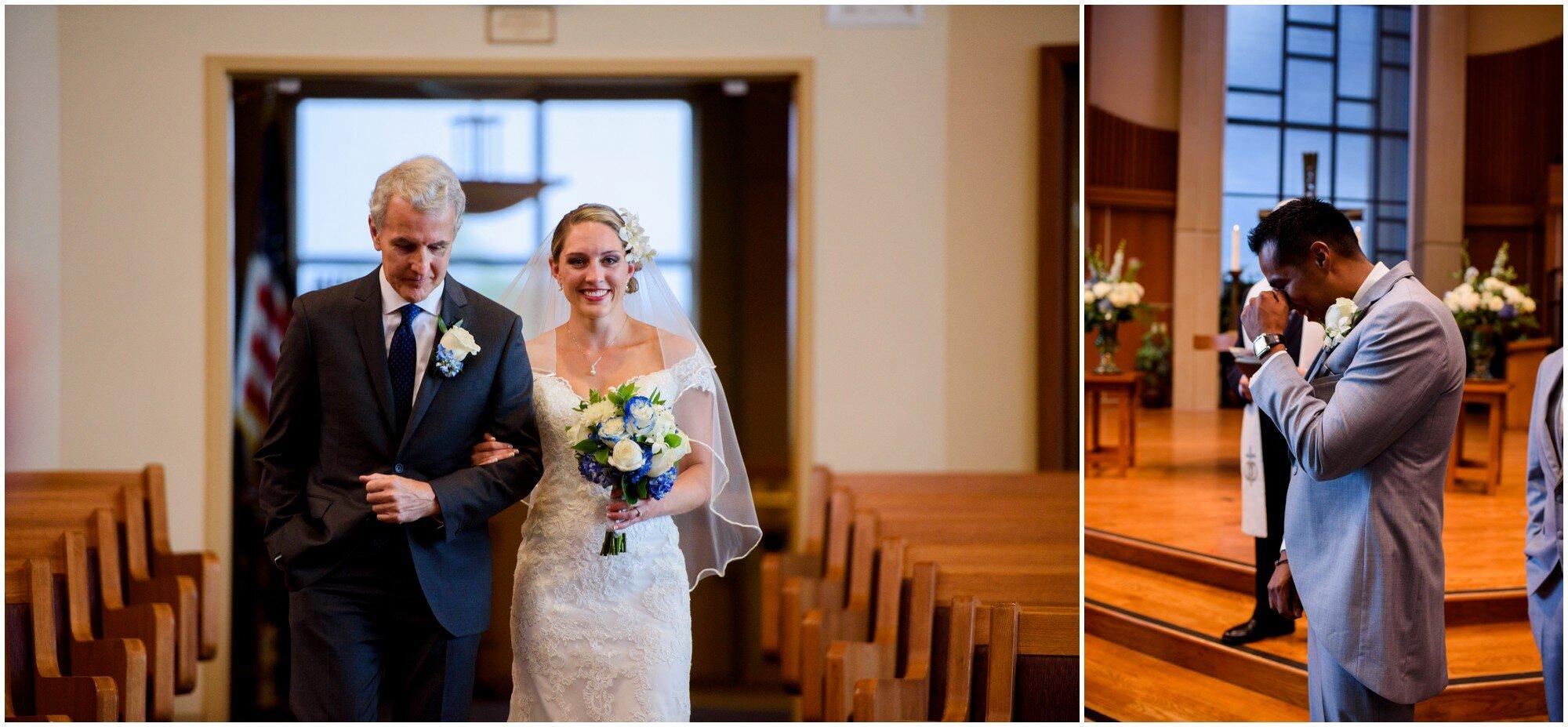 groom sees his bride walking down aisle in highlands ranch colorado