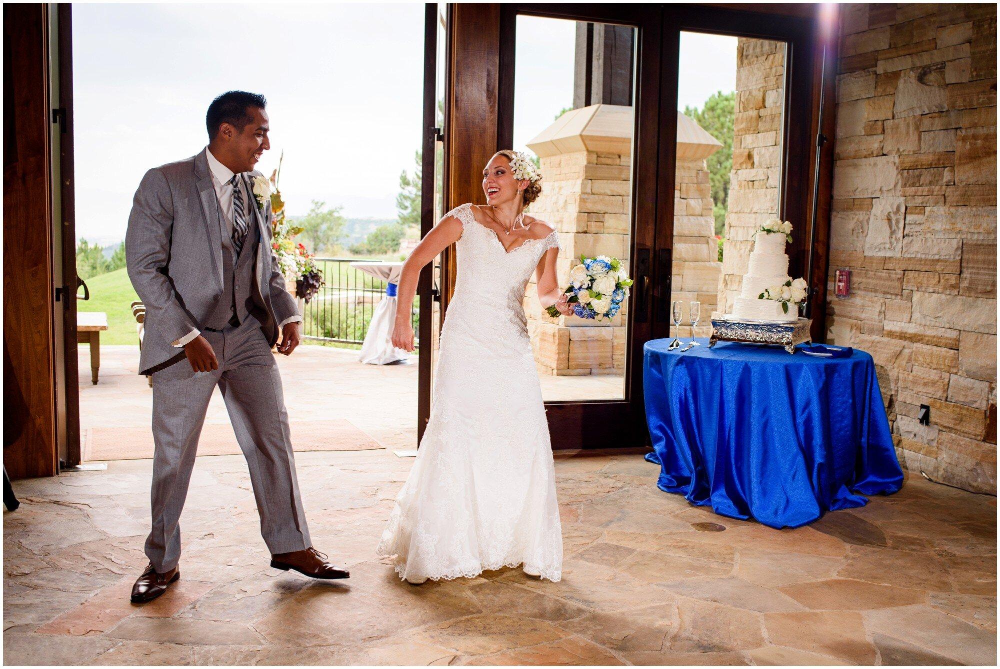 bride and groom enter reception in sedalia colorado