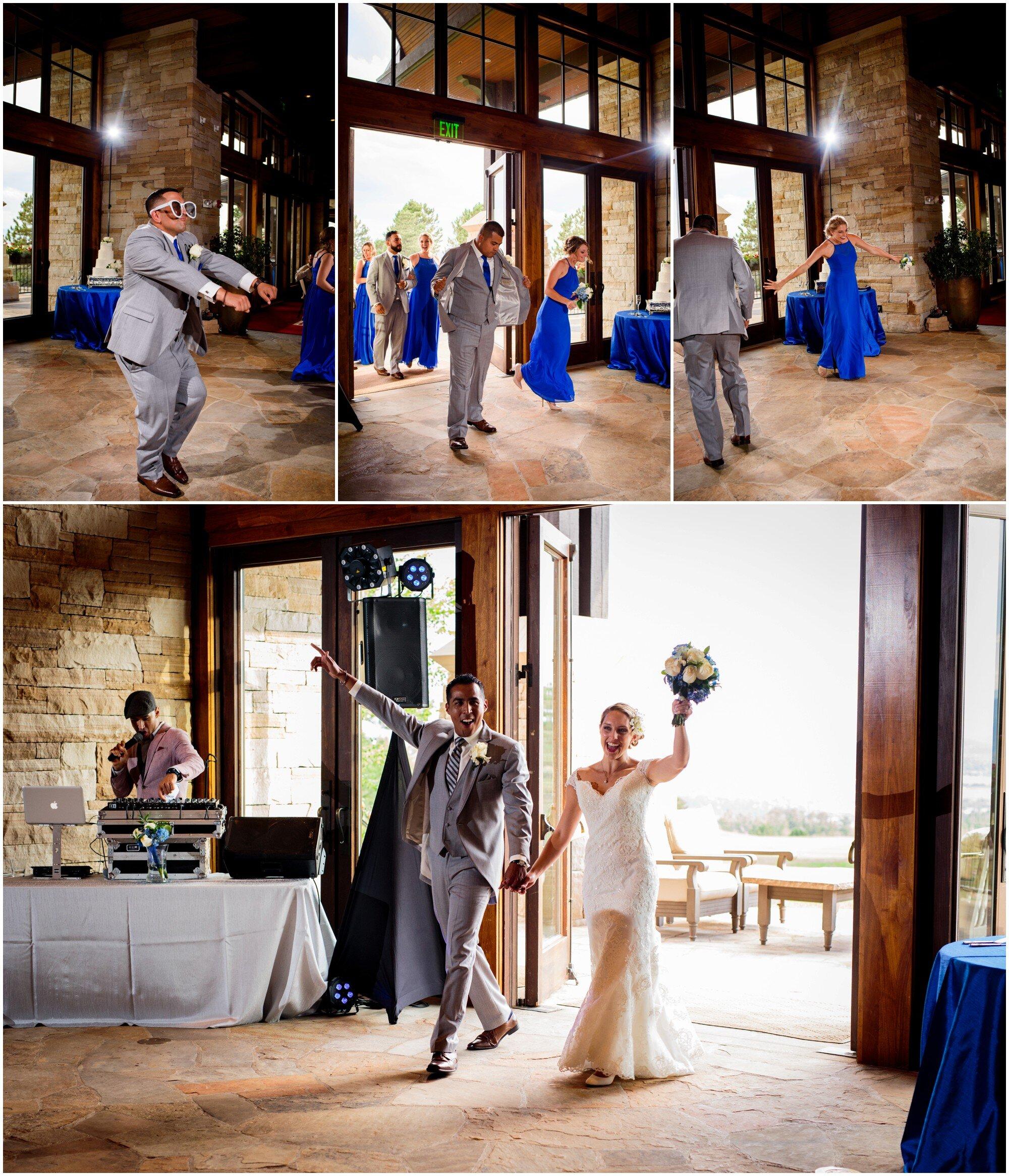 bridal party enters reception in sedalia colorado