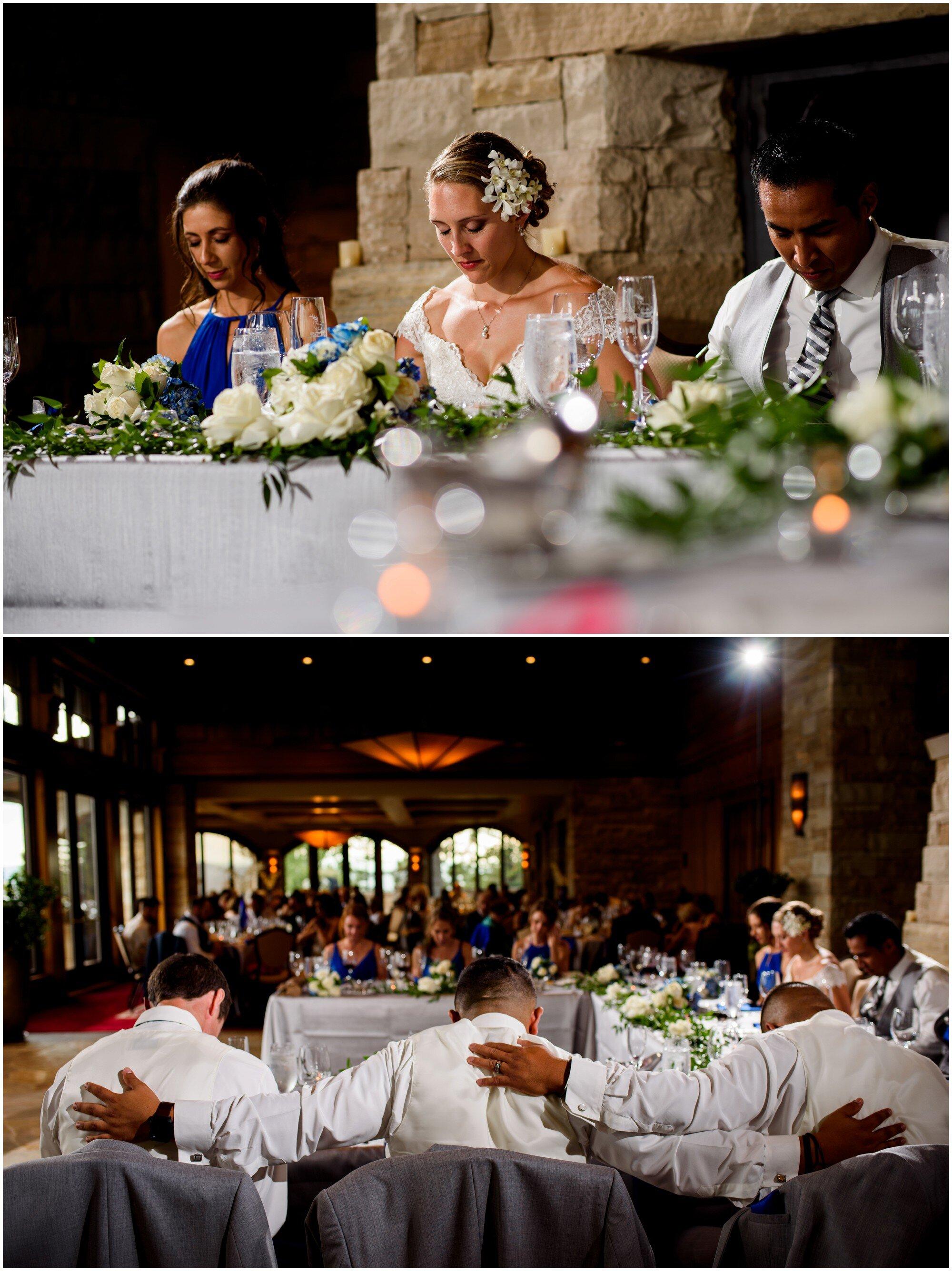 wedding party prays before sanctuary golf course wedding reception