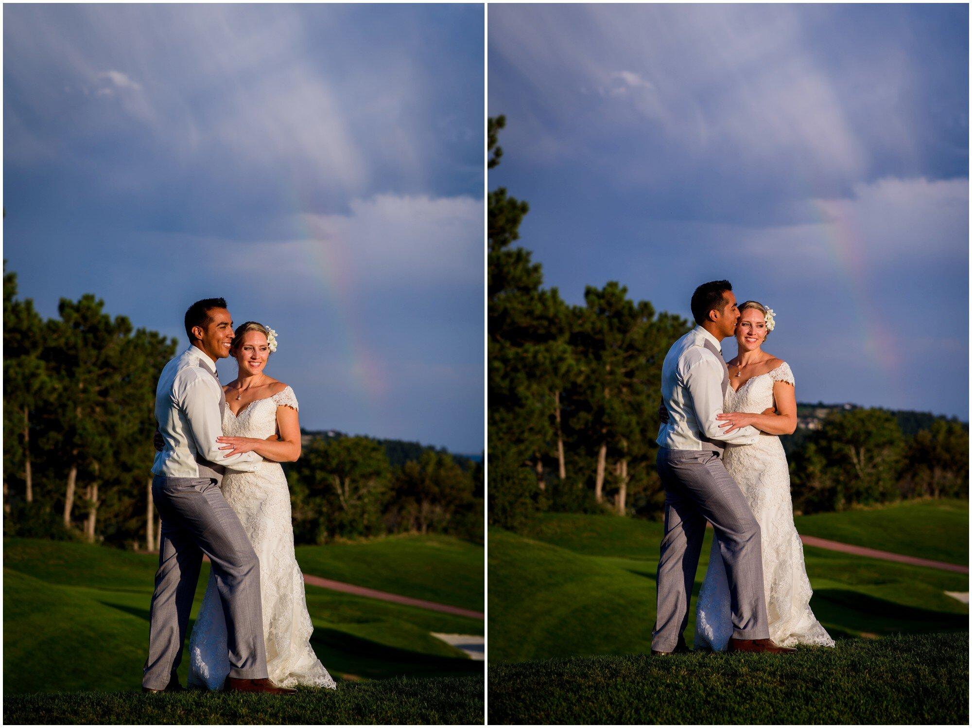 castle pines sunset wedding photos