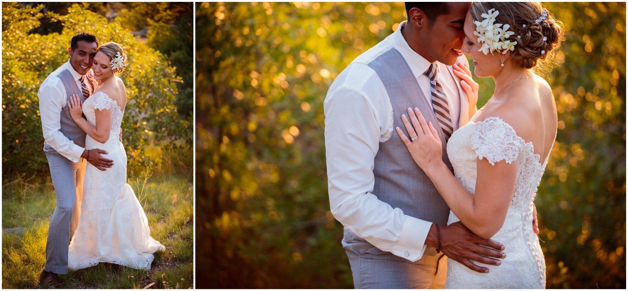 sunset wedding portraits in denver colorado