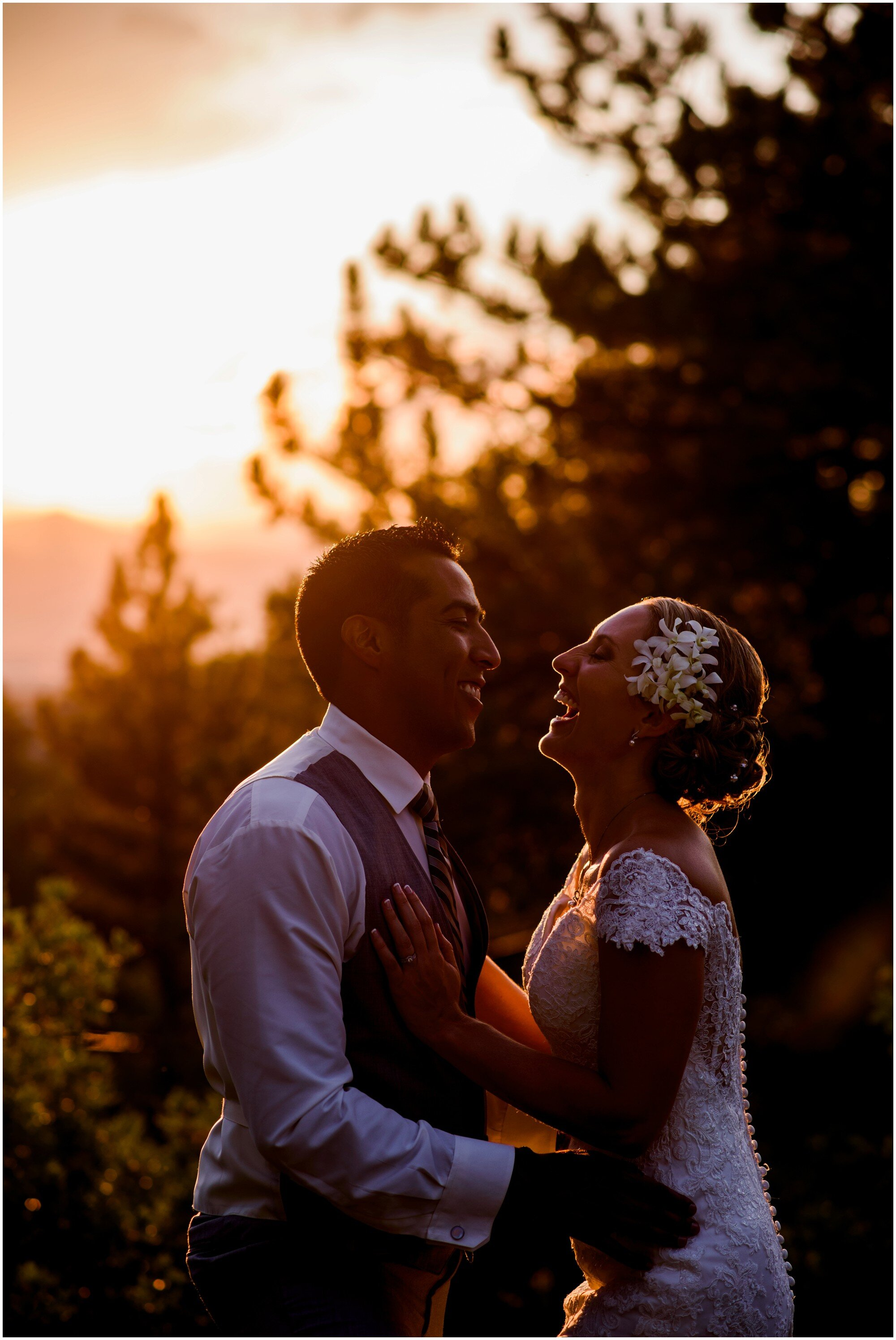 bride and groom laugh in sedalia colorado sunset