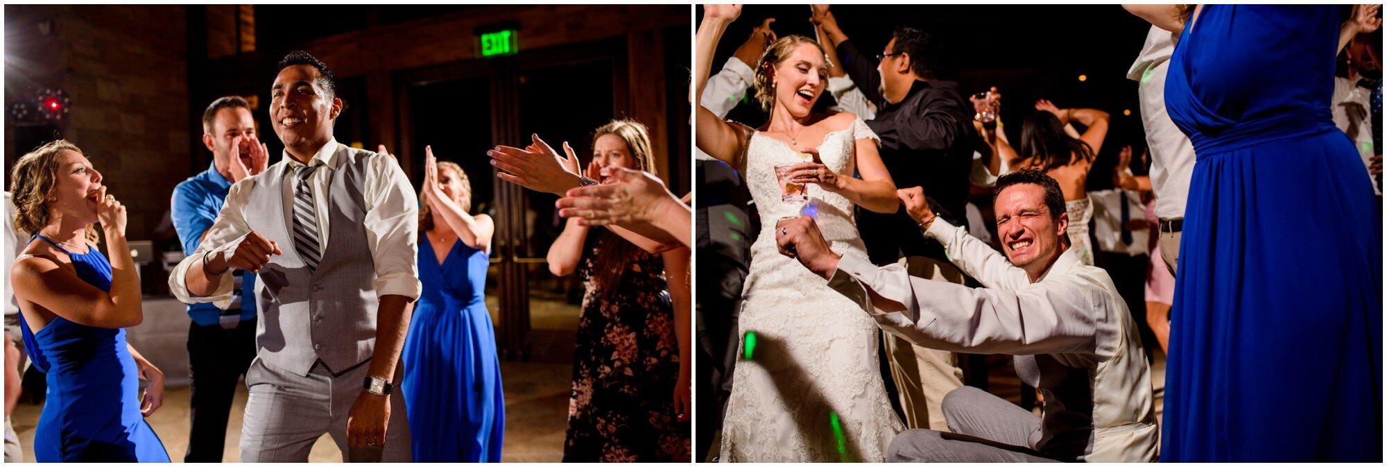bridal party dancing at wedding in denver