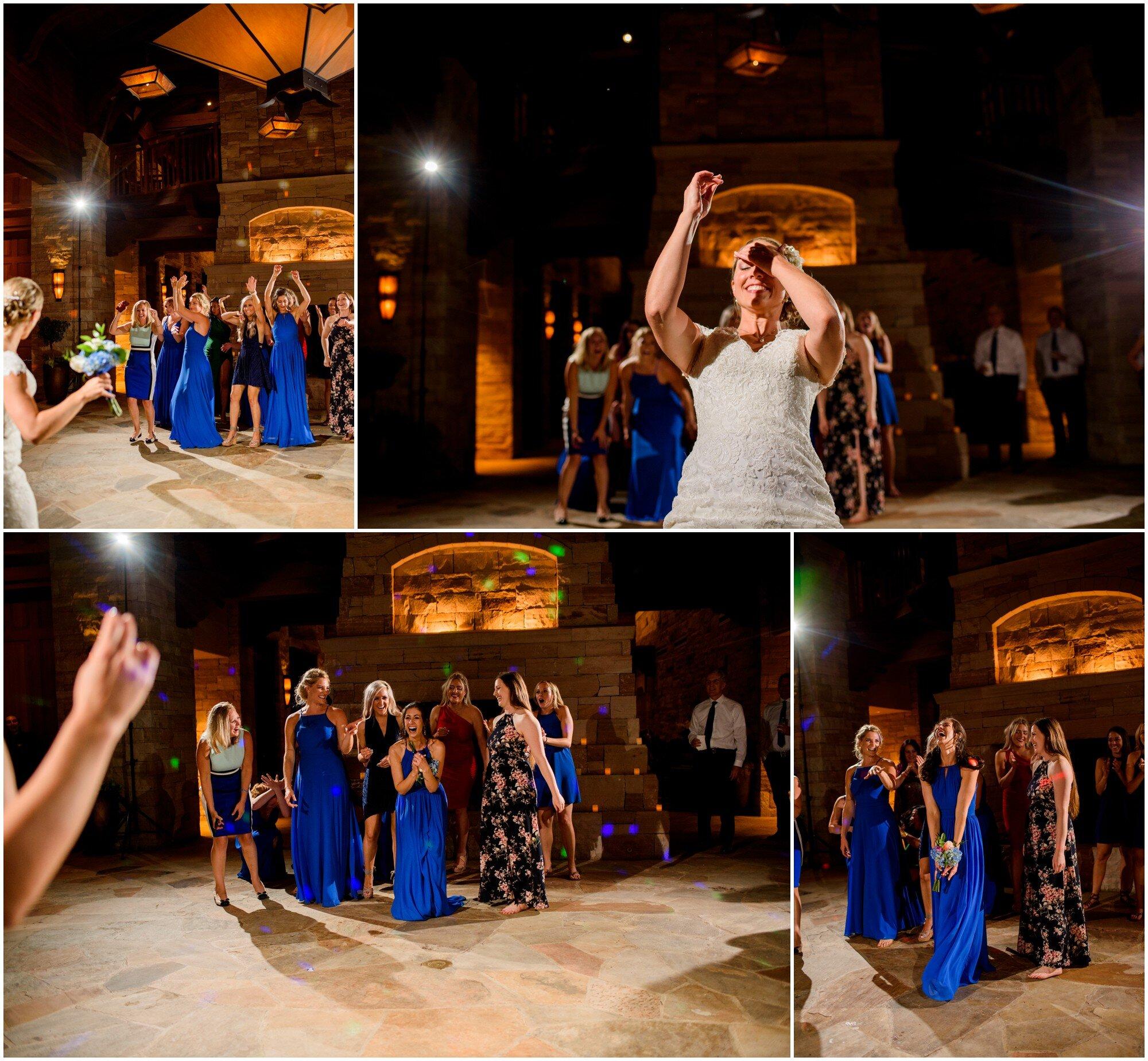 bouquet toss at sanctuary golf course wedding