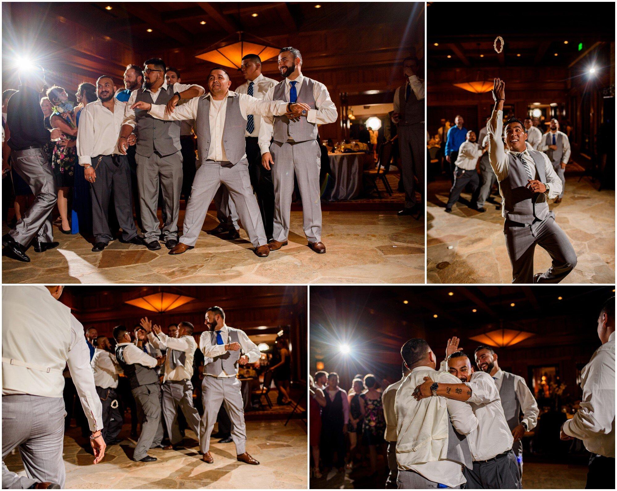 garter toss wedding reception in sedalia, colorado