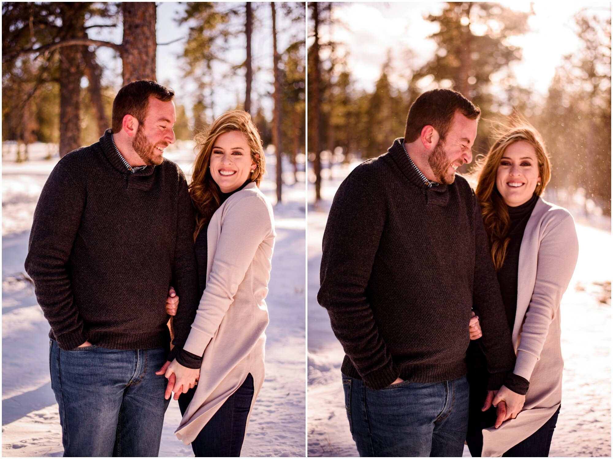 sunny winter engagement photos in mountains