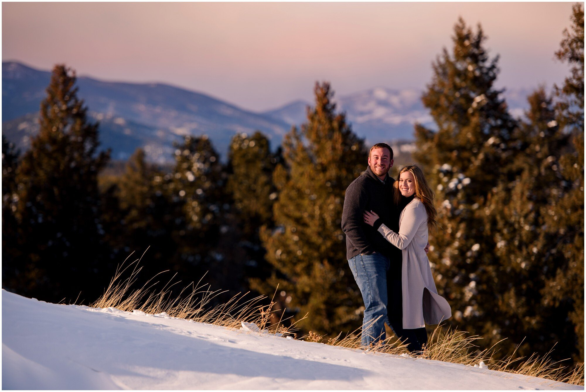 Colorado mountain sunset engagement