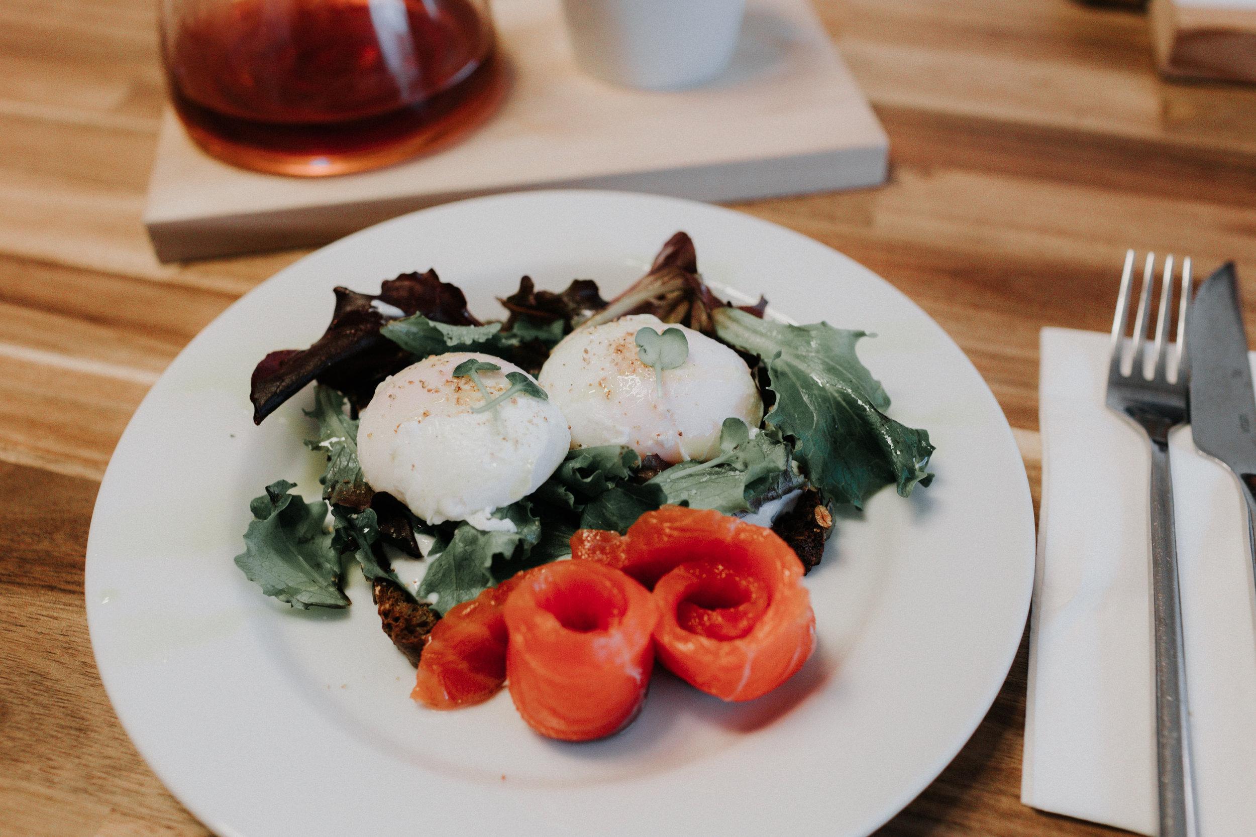 Poached eggs w/ salmon