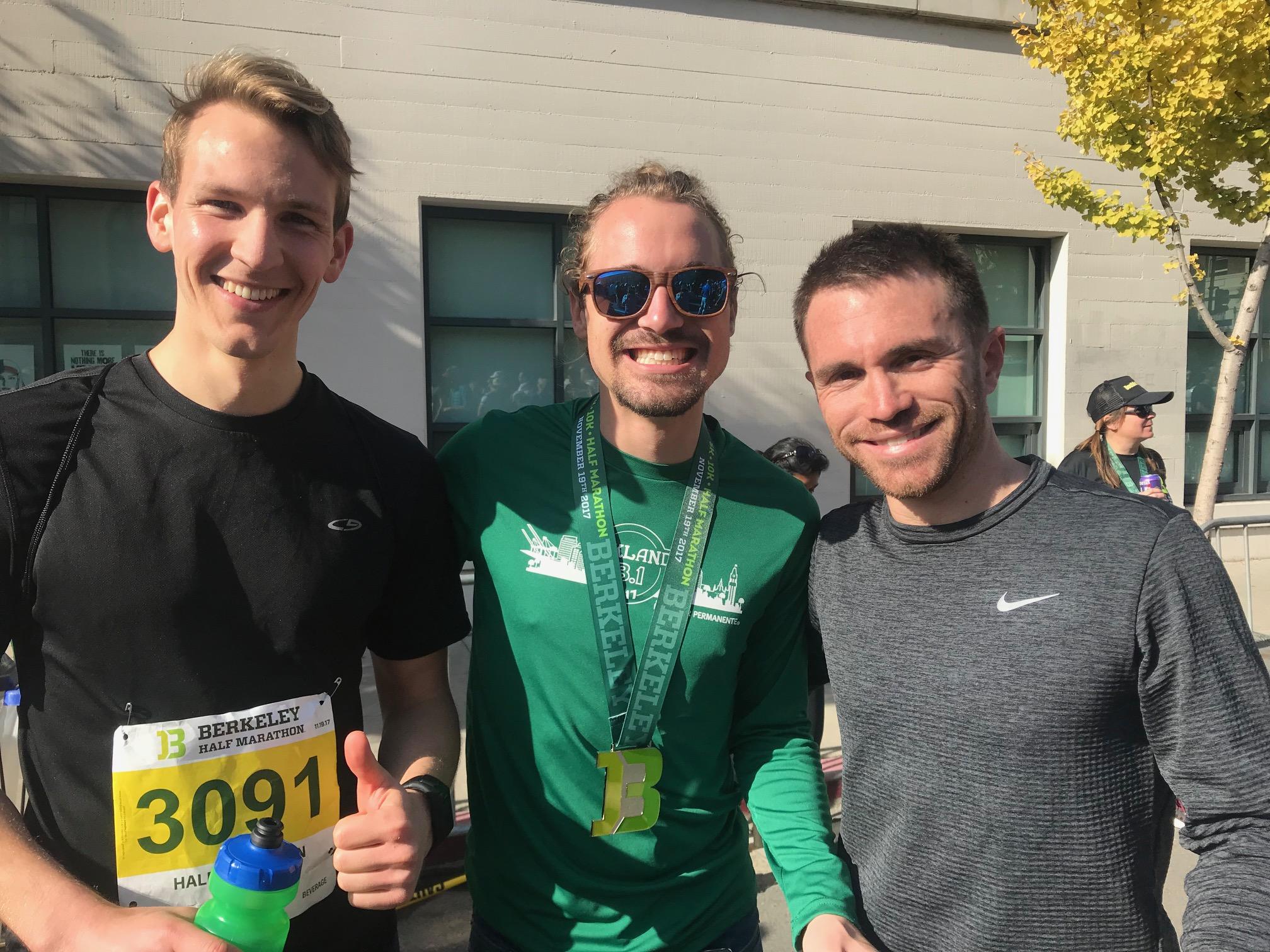 R TO L: sean, GAry (LAB), AND KYLE (LAB). KYLE has organized the BFC RUNS Berkeley Half Marathon fundraiser for several years
