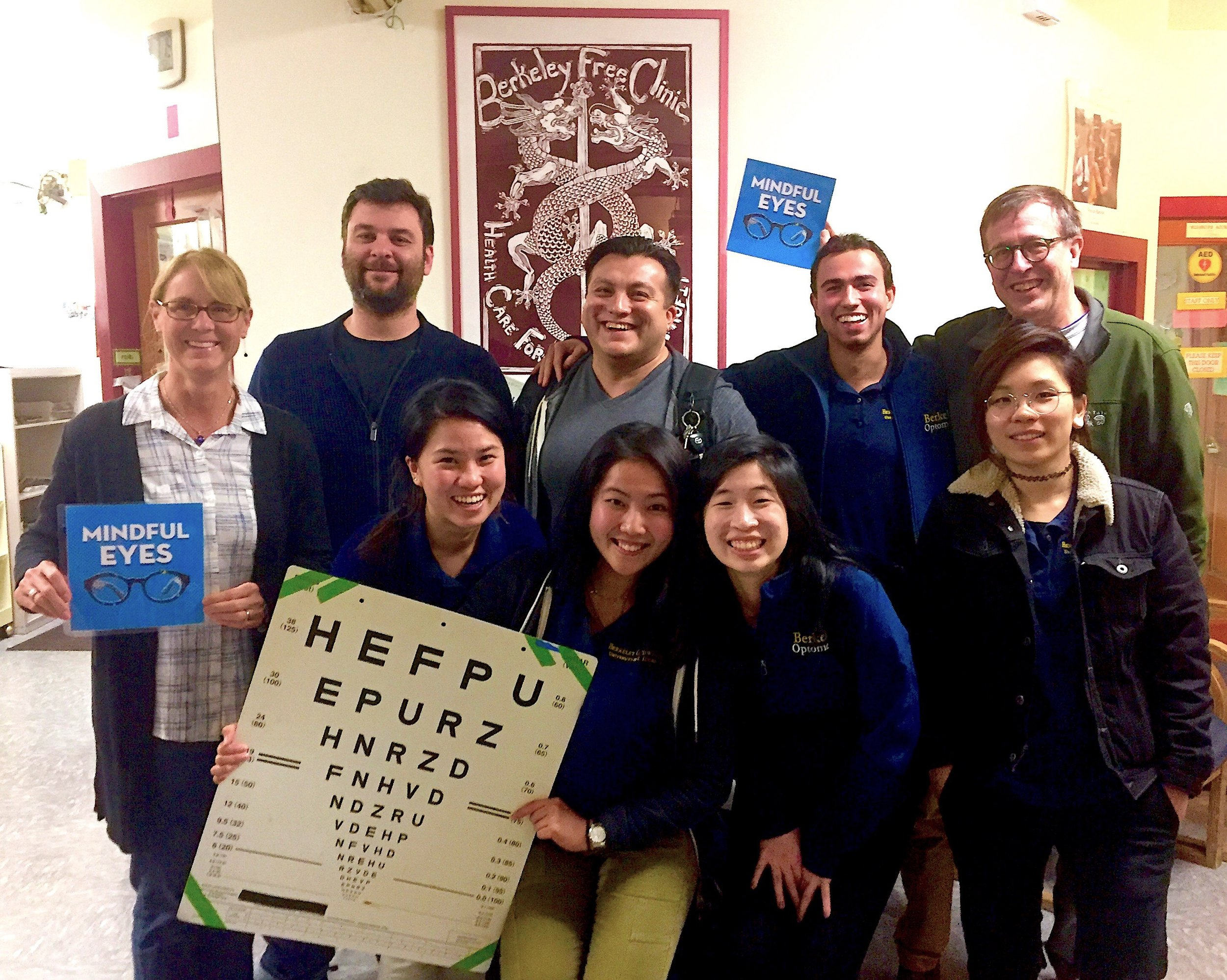 Dr Michelle Hoff (left) of uc Berkeley's school of optometry and the Mindful Eyes Foundation with her crew of optometry volunteers
