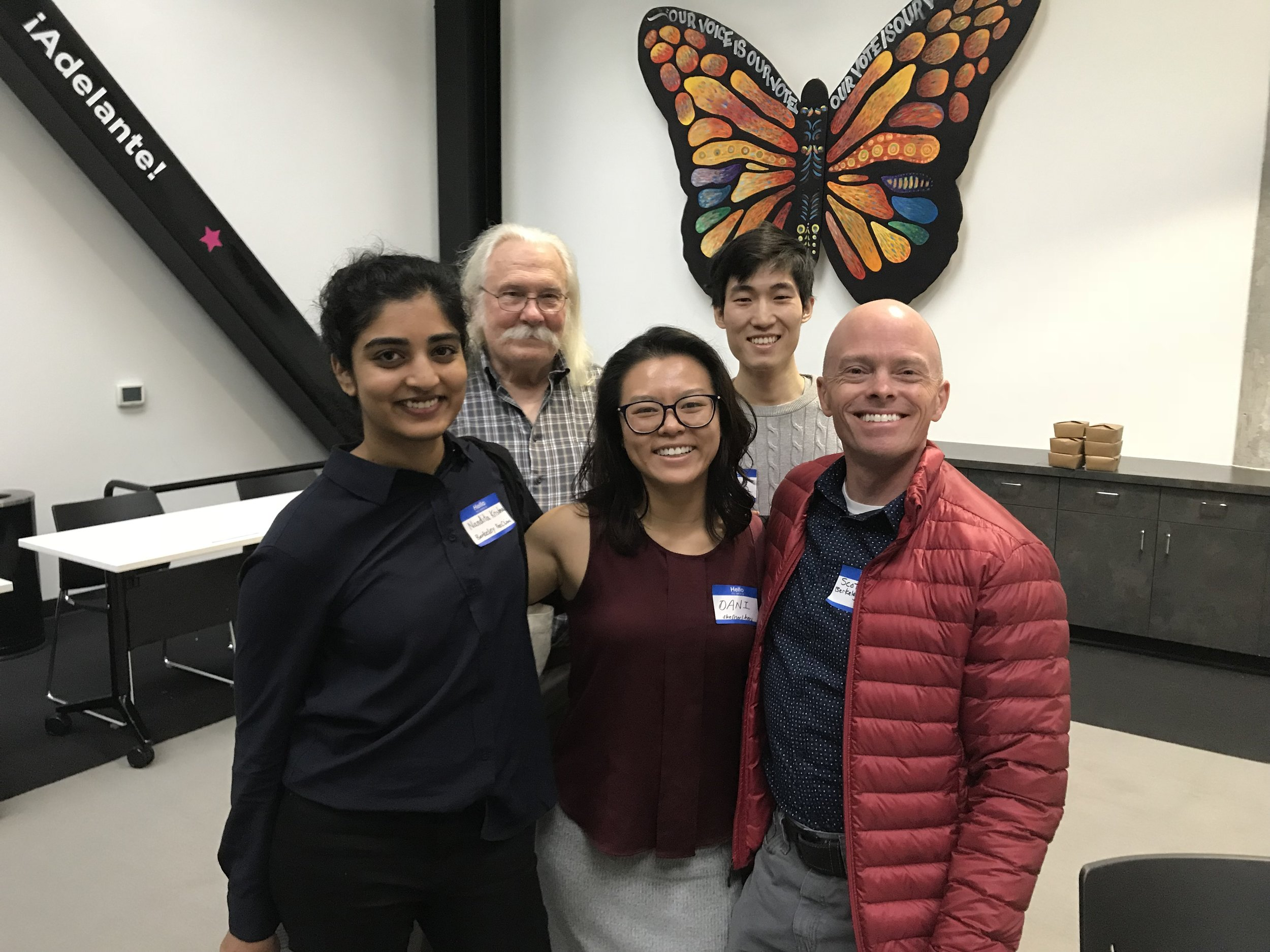 L to R: Front: Nandita (IRC), Dani (SatServ Alum), Scott (Phleb). Back: John (GMHC), Alvin (Lab)