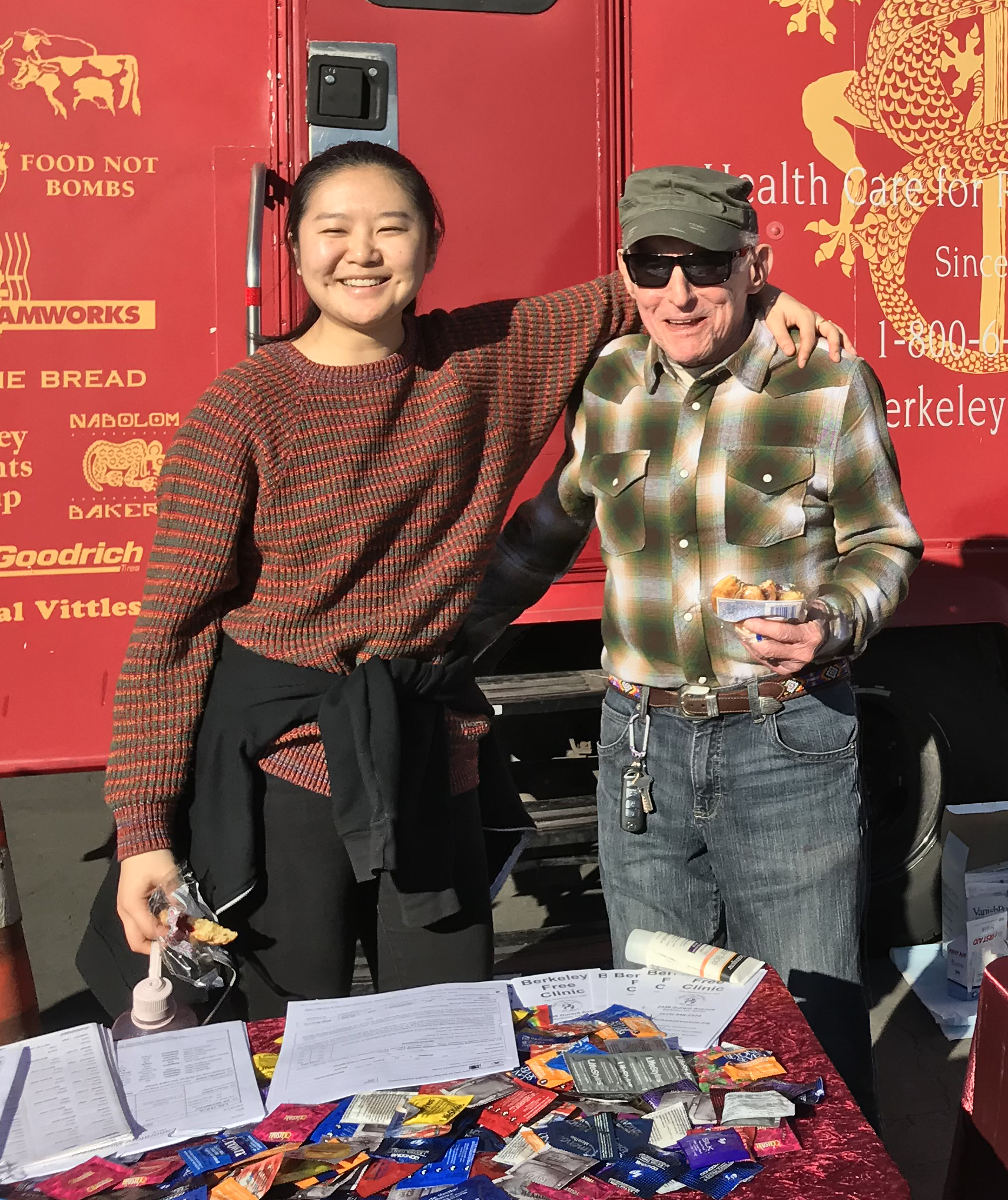 Jasmine Xi (Heptev coord and Clinic steering committee member) and Dr. Kent Sack (GMHC physician and BFC Board chair) conduct outreach at an oakland homeless services event