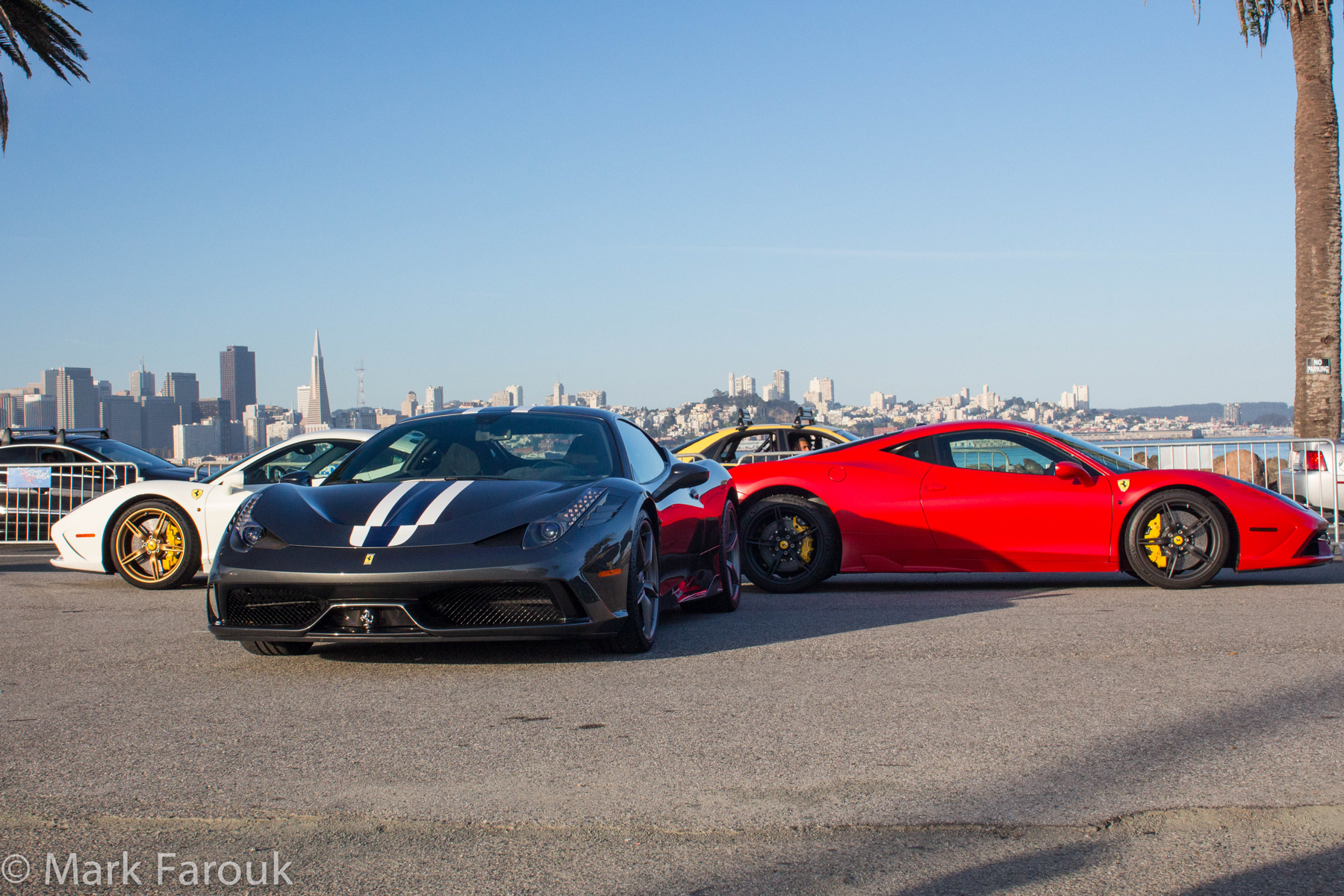 Like bright candy filled eggs, several Ferraris were displayed in a pattern delivering a matrix of pigment.