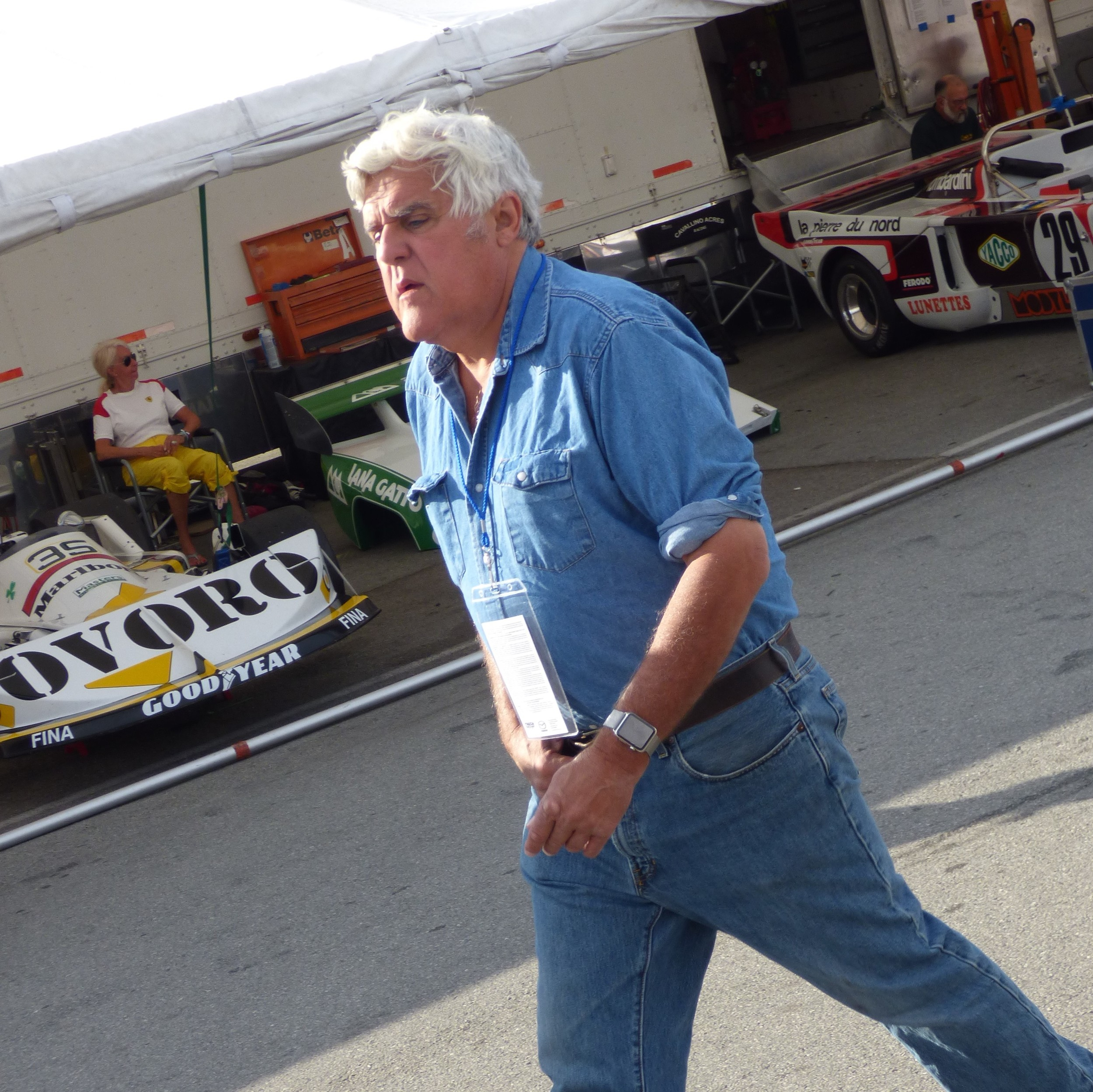 Just like clockwork...Jay Leno hits the paddock to do his interviews.