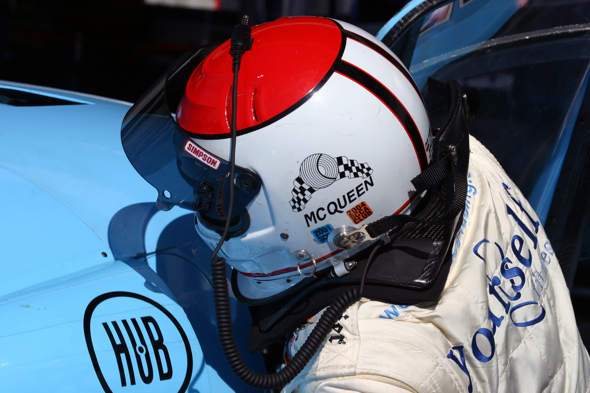 Chad McQueen climbs into the Ford Crawford DP03 for qualifying.