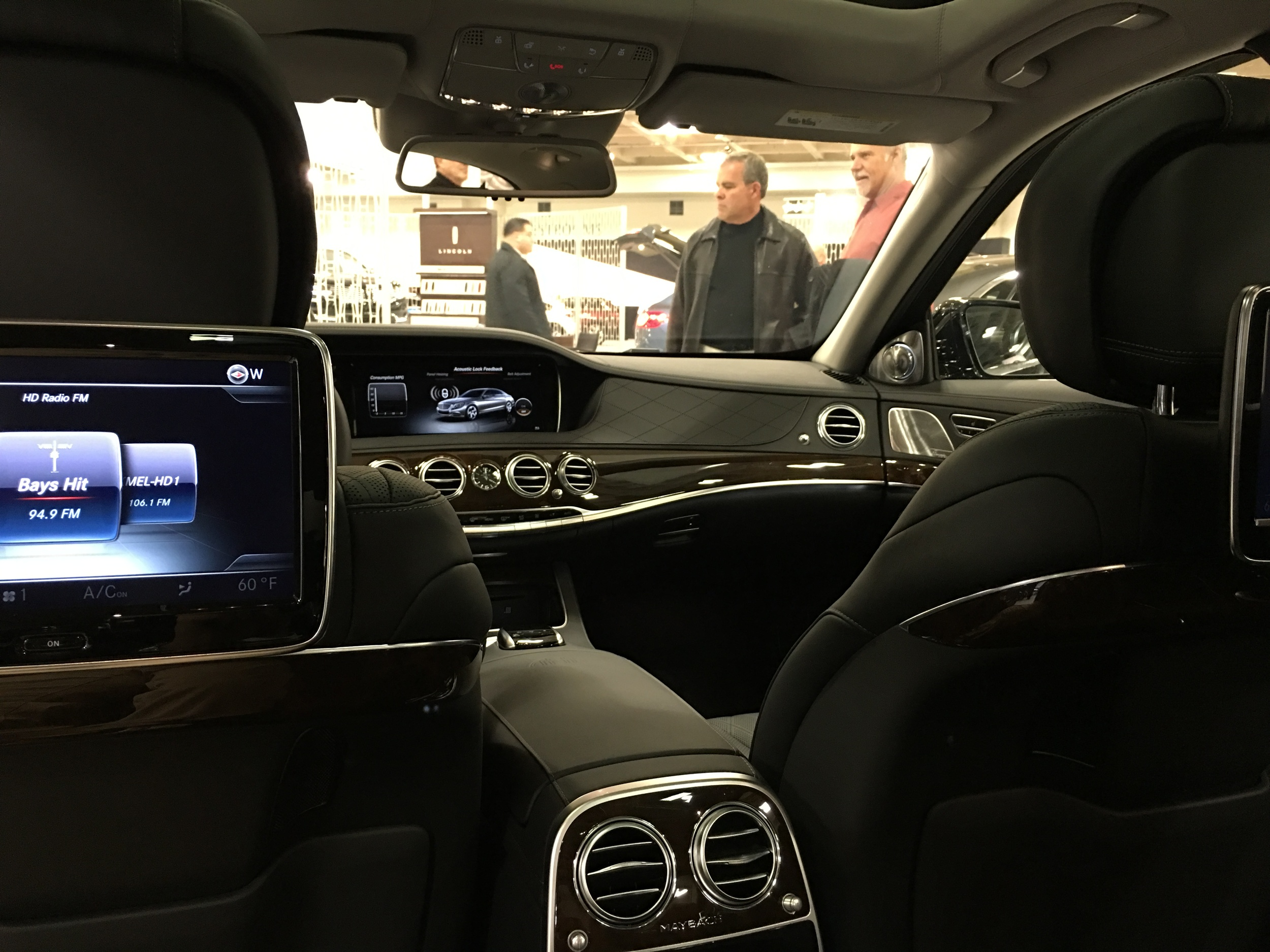 Interior of Mercedes Maybach from back see looking forward.