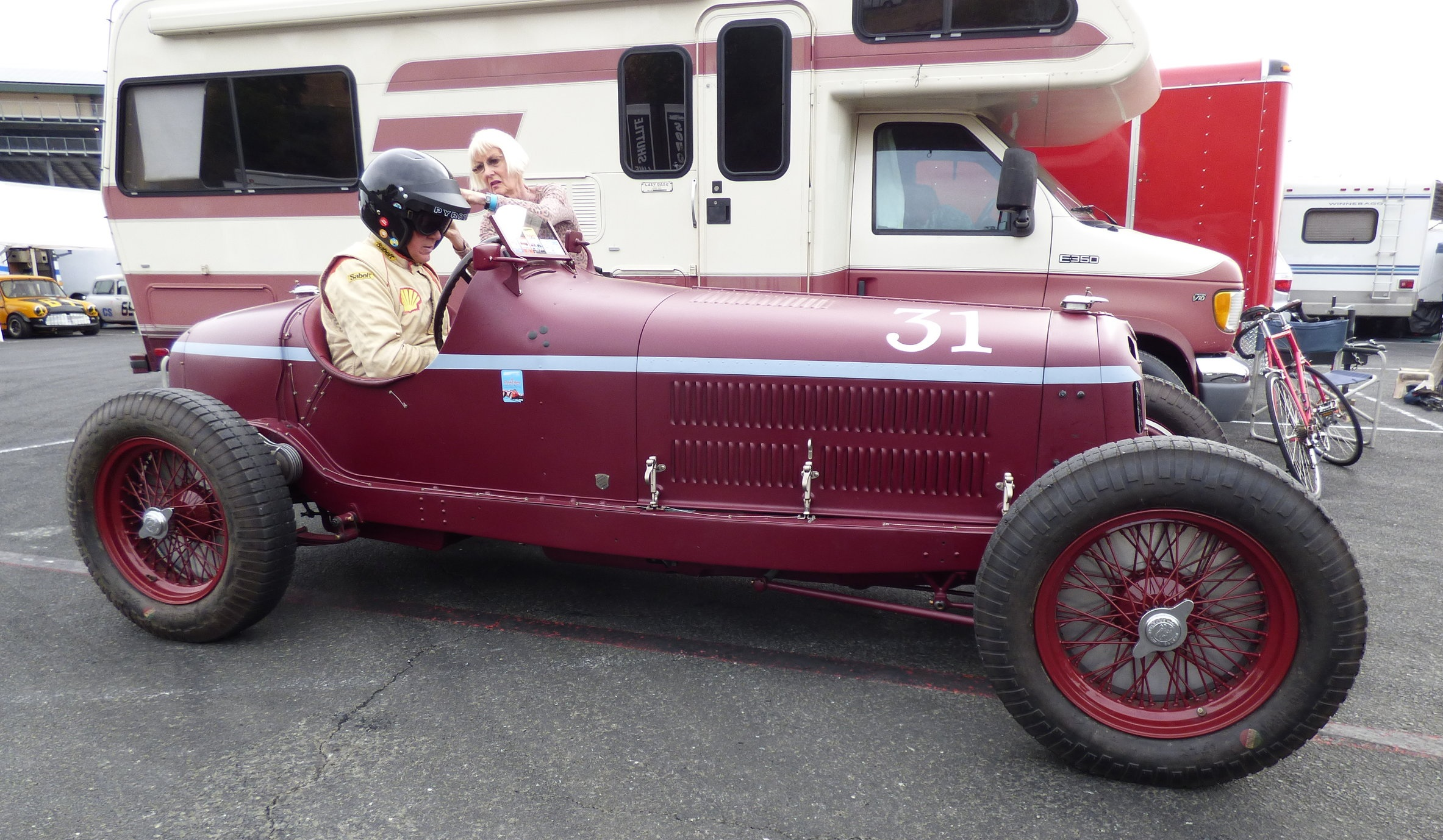 Peter and Judy preparing for battle at the 2016 Sonoma Historic Motorsports Festival