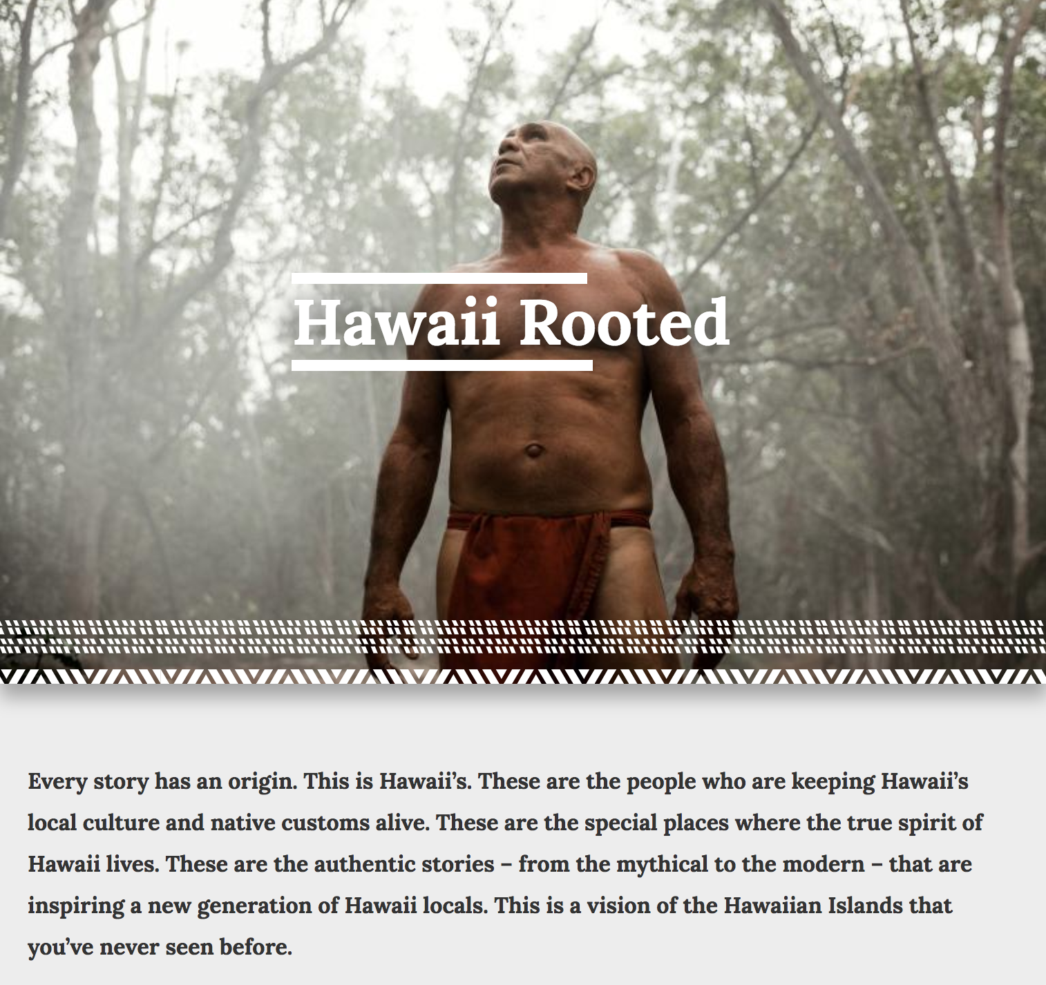 "Copywriting for website, plus pre-production, post-production and writing work for the "" Hawaii Rooted "" online video campaign for the Hawaii Visitors and Convention Bureau."