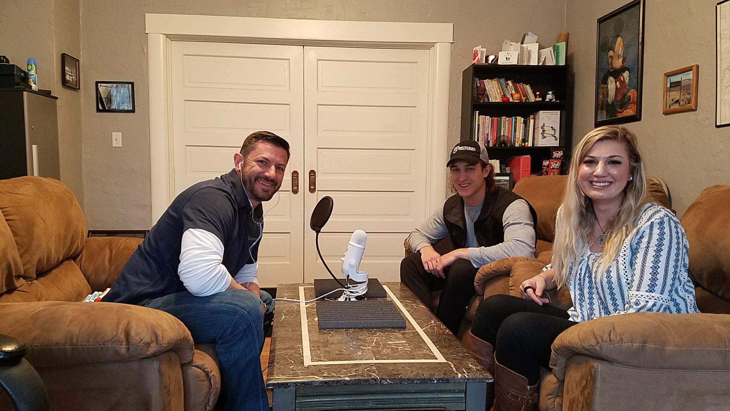 Zephyr Wellness' Jake Wiskerchen records with college students Matt Dutcher, 21, and Lauren Penksa, 23, both from the University of Nevada.