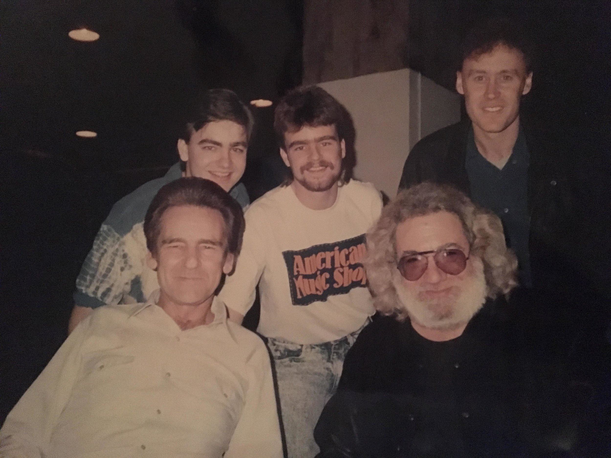 Back Row: Ronnie McCoury, Robbie McCoury, Bruce Hornsby Front Row: Del McCoury, Jerry Garcia Photo by Allison McCoury Published w/ permission from Allison McCoury