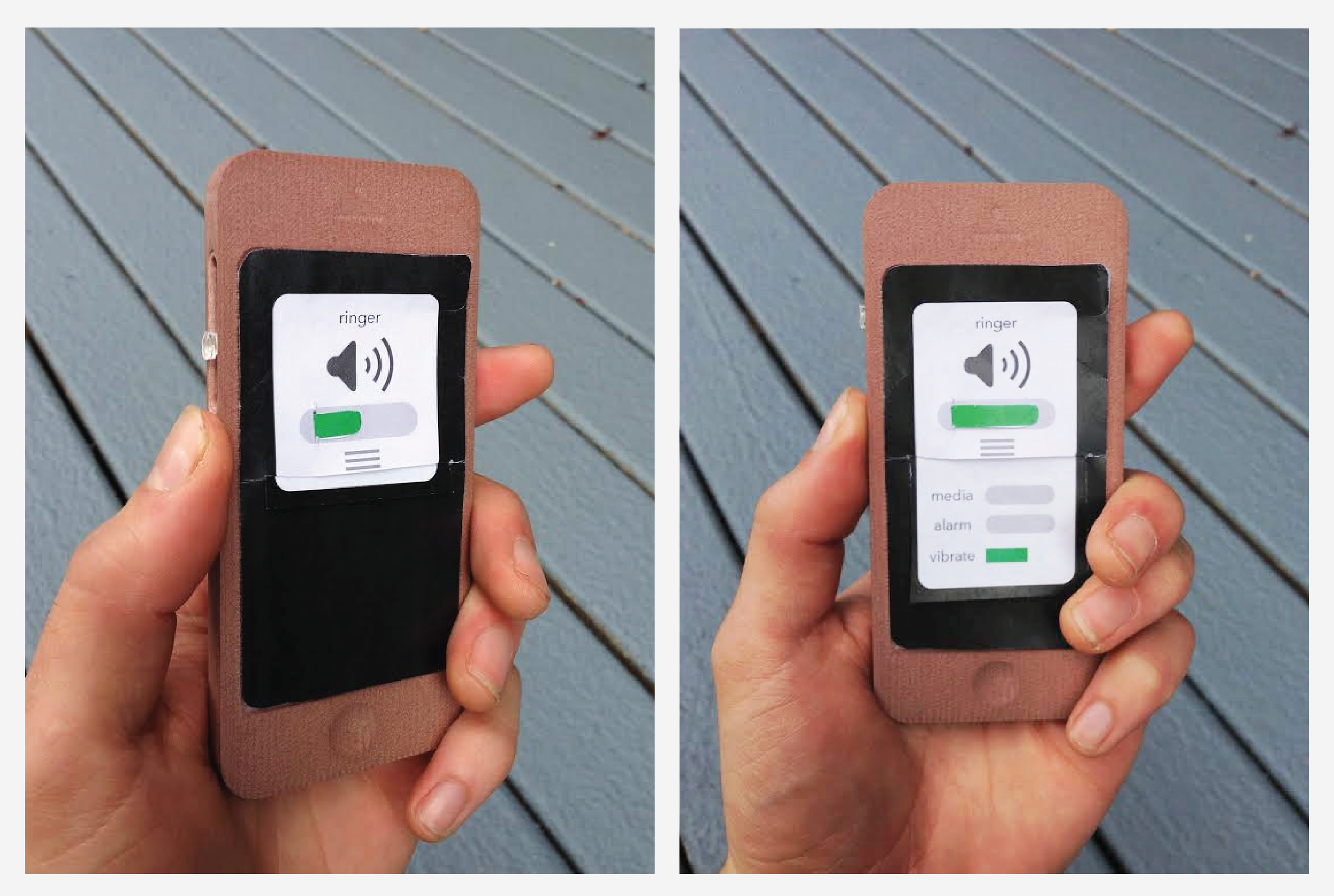 A low fidelity prototype. This phone model was made on Solidworks and CNC machined. Includes a functioning side slider cut with a milling machine, and a laser cut acrylic sliding button. Paper sliding menus simulate interactive screen features.