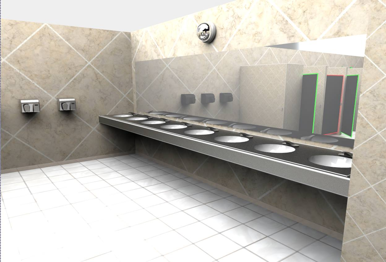 An elevated sink counter allows for easy wheelchair access.