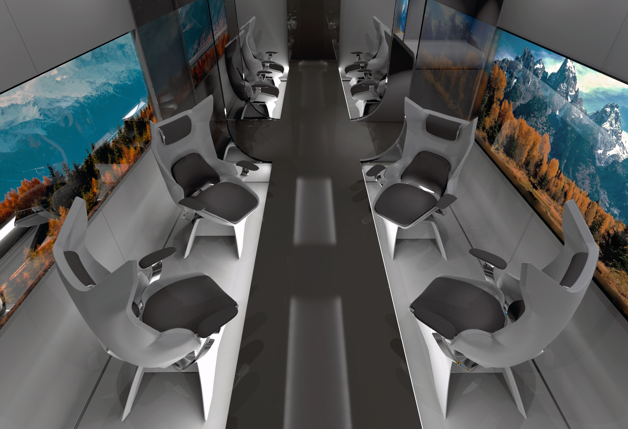 We designed rotating chairs to accommodate for user-directed community. Giving riders control over when and how they engage with others allows for natural, organic interactions. This design allows you to look outside, converse with each other, or work privately - your choice.