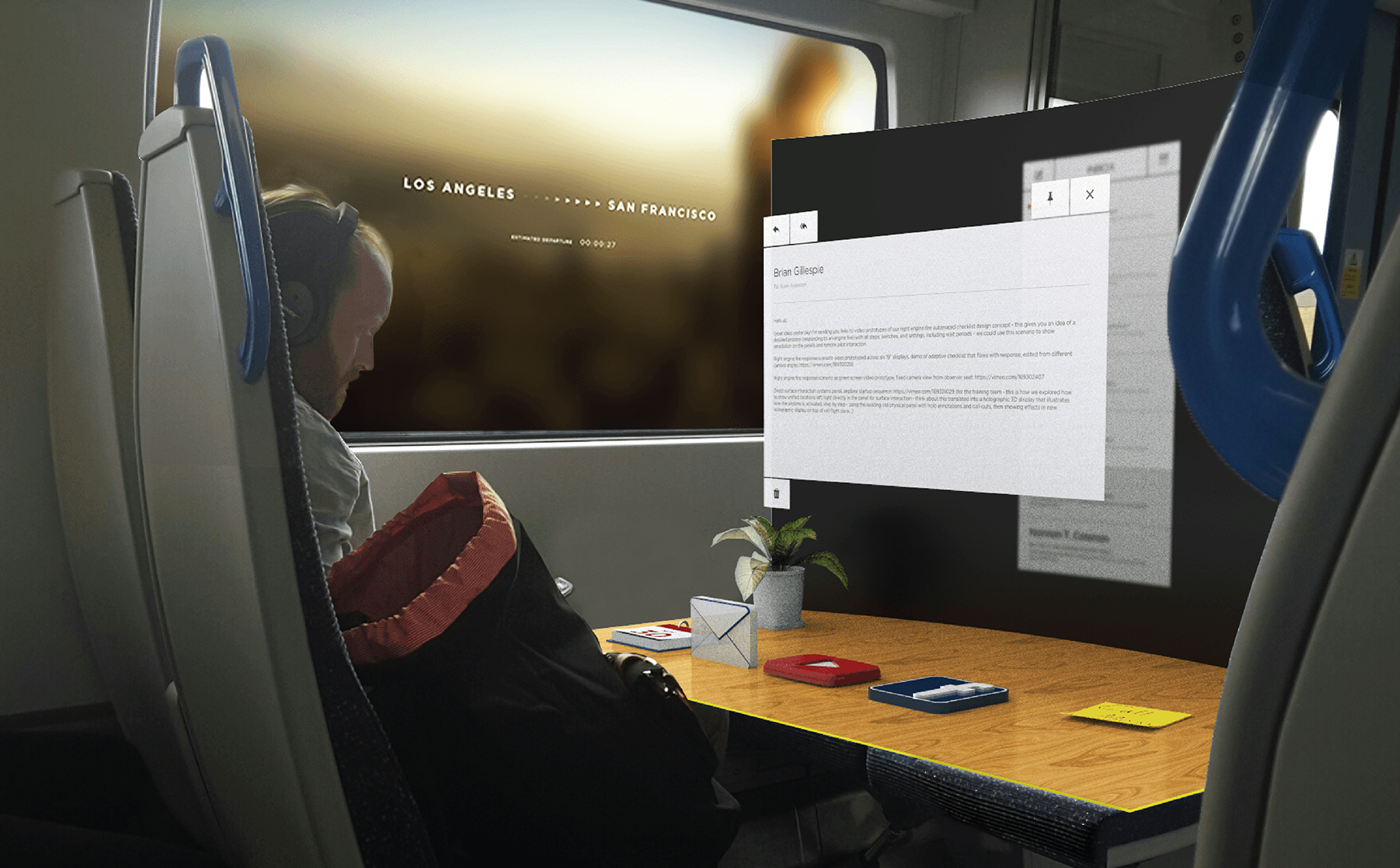 Early context shot of both interfaces in action. The personal AR interface makes use of Z-axis and depth of field to differentiate active and passive states between windows. A large opaque background is projected on the back of the table to reduce visual noise and increase privacy. This design would be dependent on a physical table existing for each user.