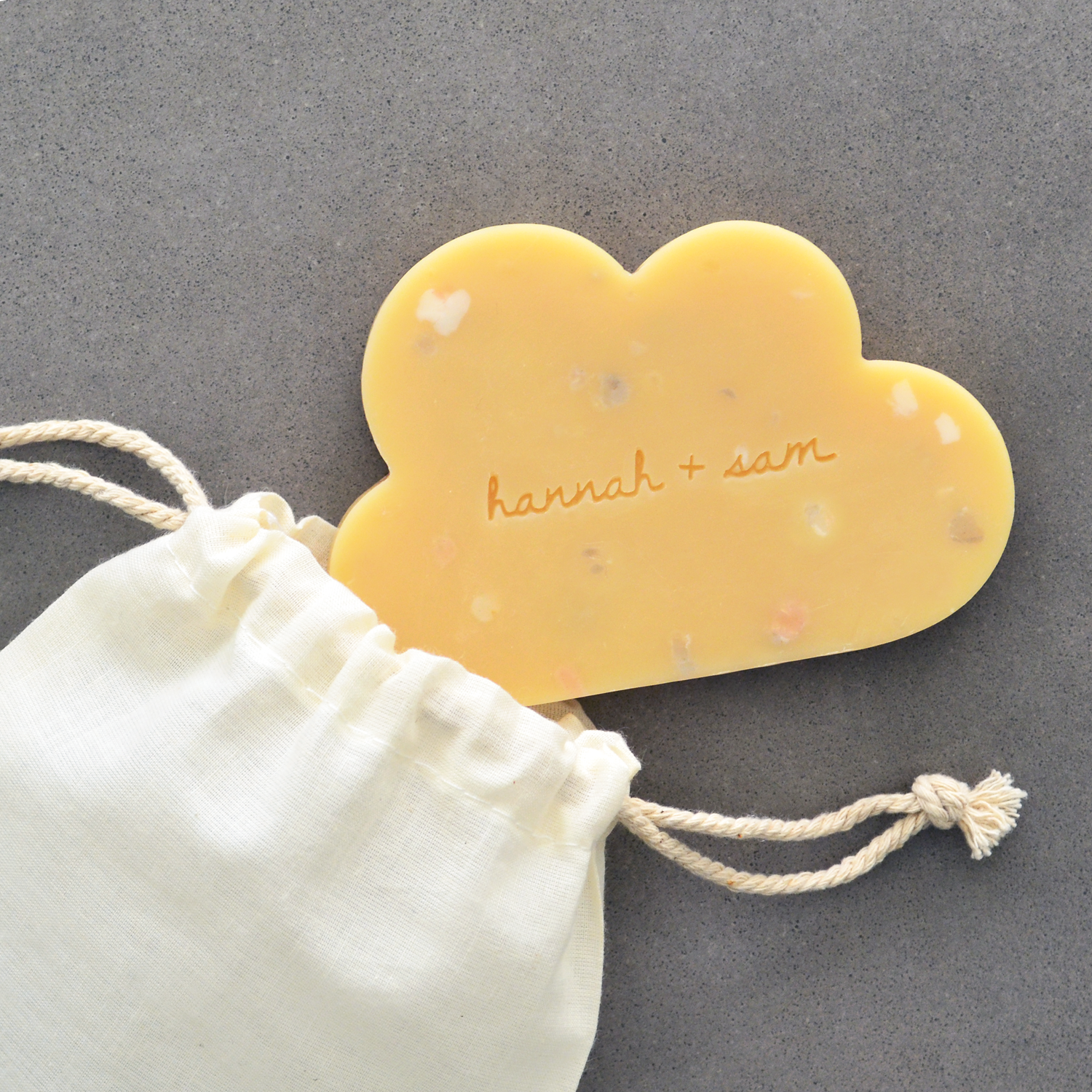 Cloud soap with custom stamping in cotton pouch
