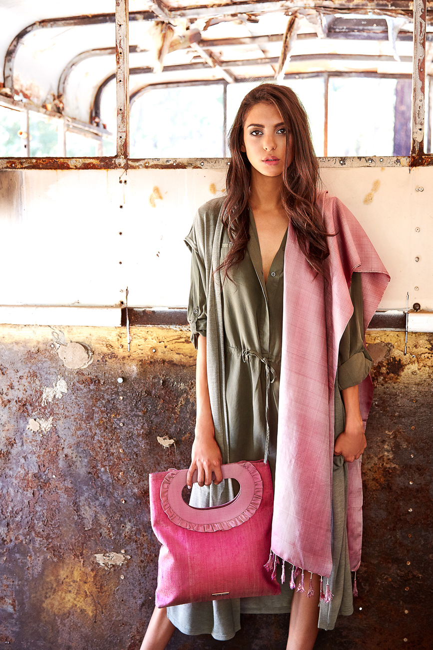 Oversized pink clutch bag with handwoven silk scarf