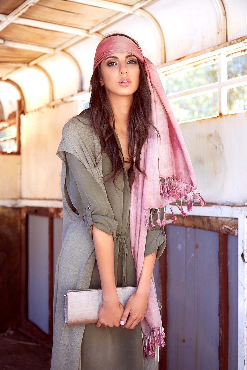 Grey clutch bag with handmade pink silk head scarf