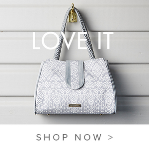 Grey Silver Silk Tote Handbag with intricate pattern fabric