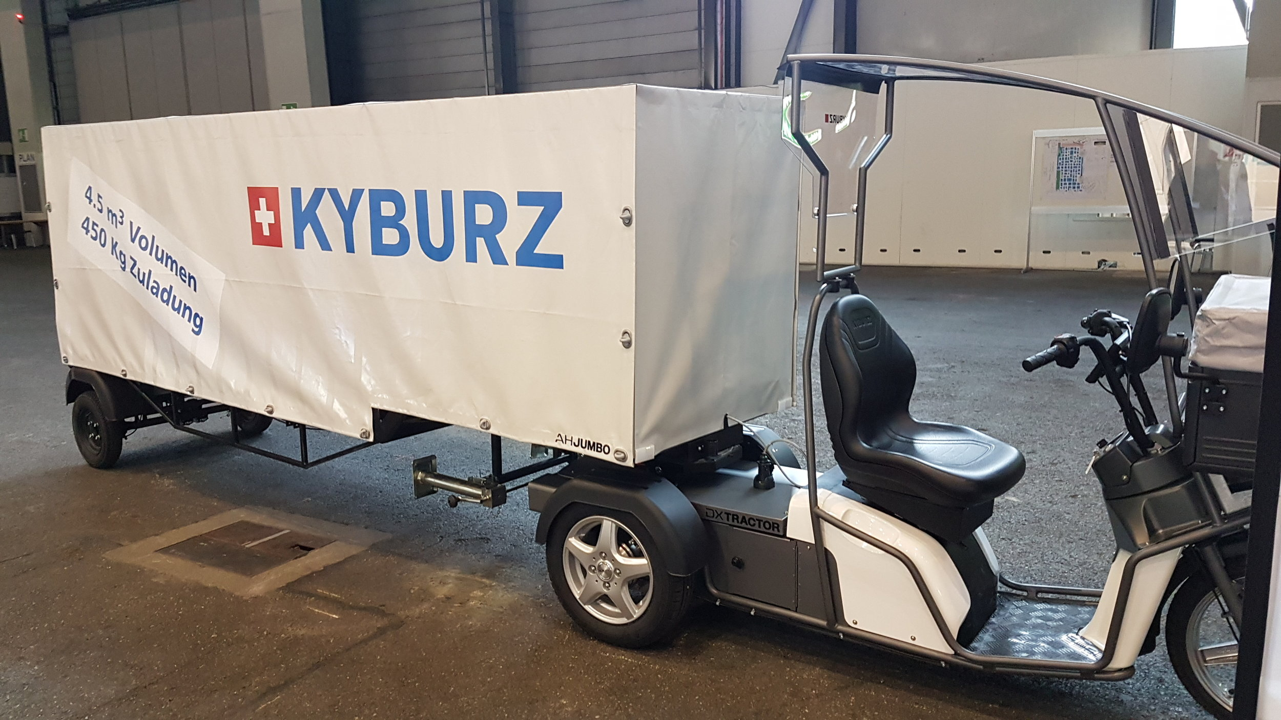 Kyburz electric tricycle with trailer