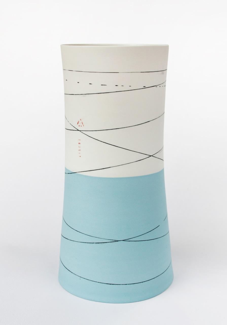 Tall waisted vase duck egg & white H36cm.jpg