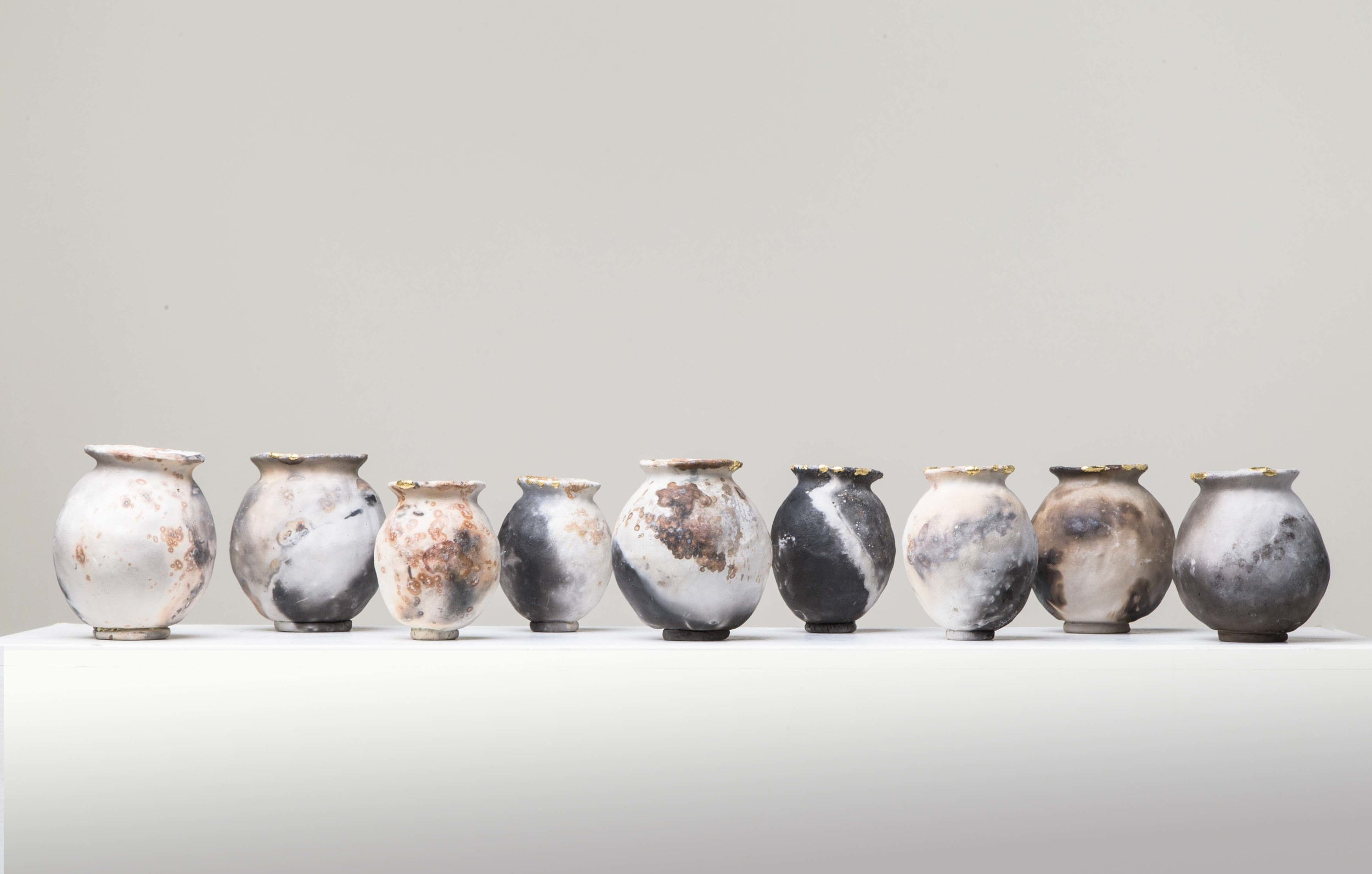 3 RJ 5.5x4.5inches, Pit Fired Ceramics with 23.5ct Gold Leaf, Soul Pots.jpg
