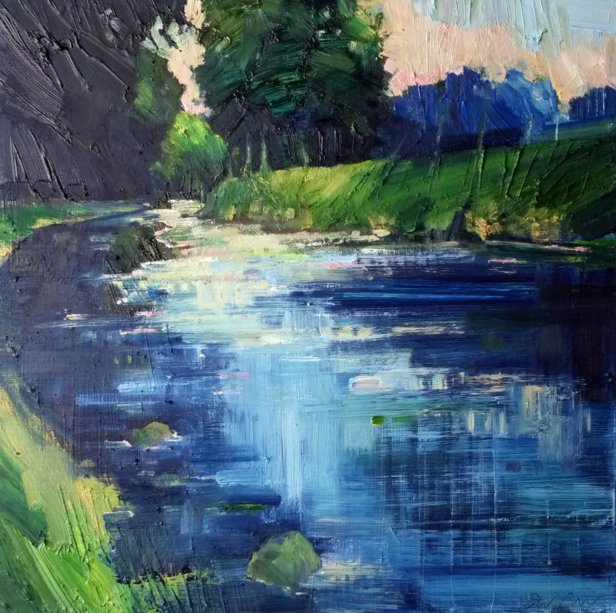 Emerson Mayes - River Reflections, May - 31cm by 31cm - £950.00