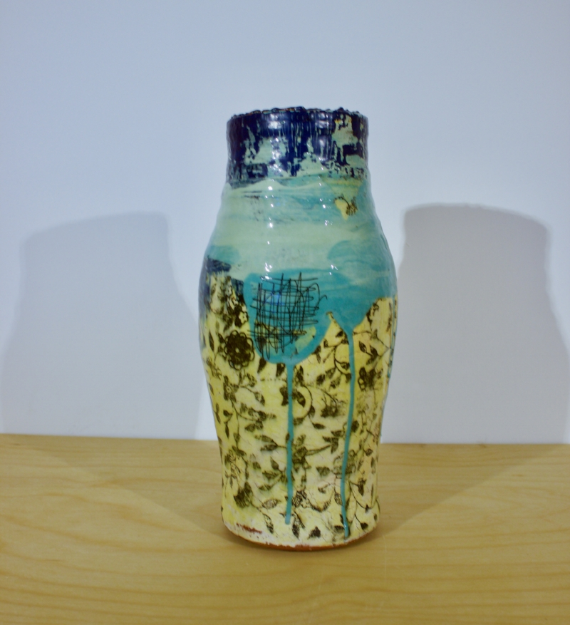 Small Vase with Blue Top - Green & Yellow Stoneware Vase