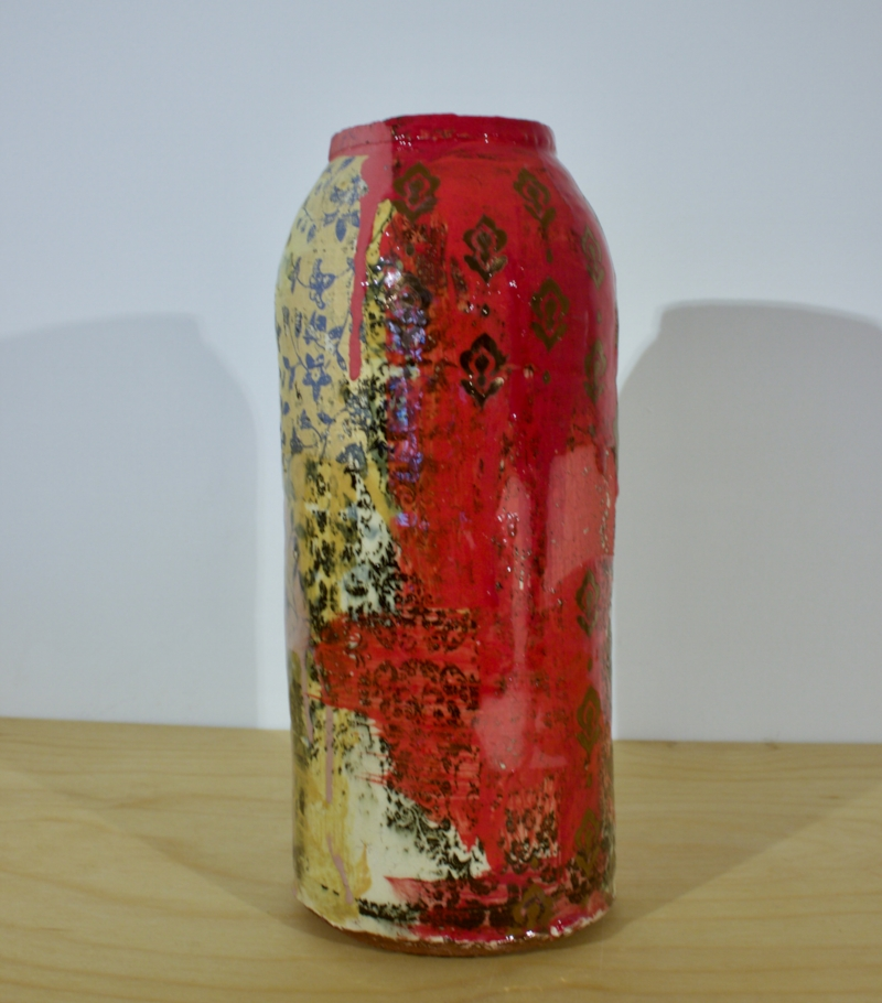 Small Red Jar - Stoneware Jar with Indian Motif