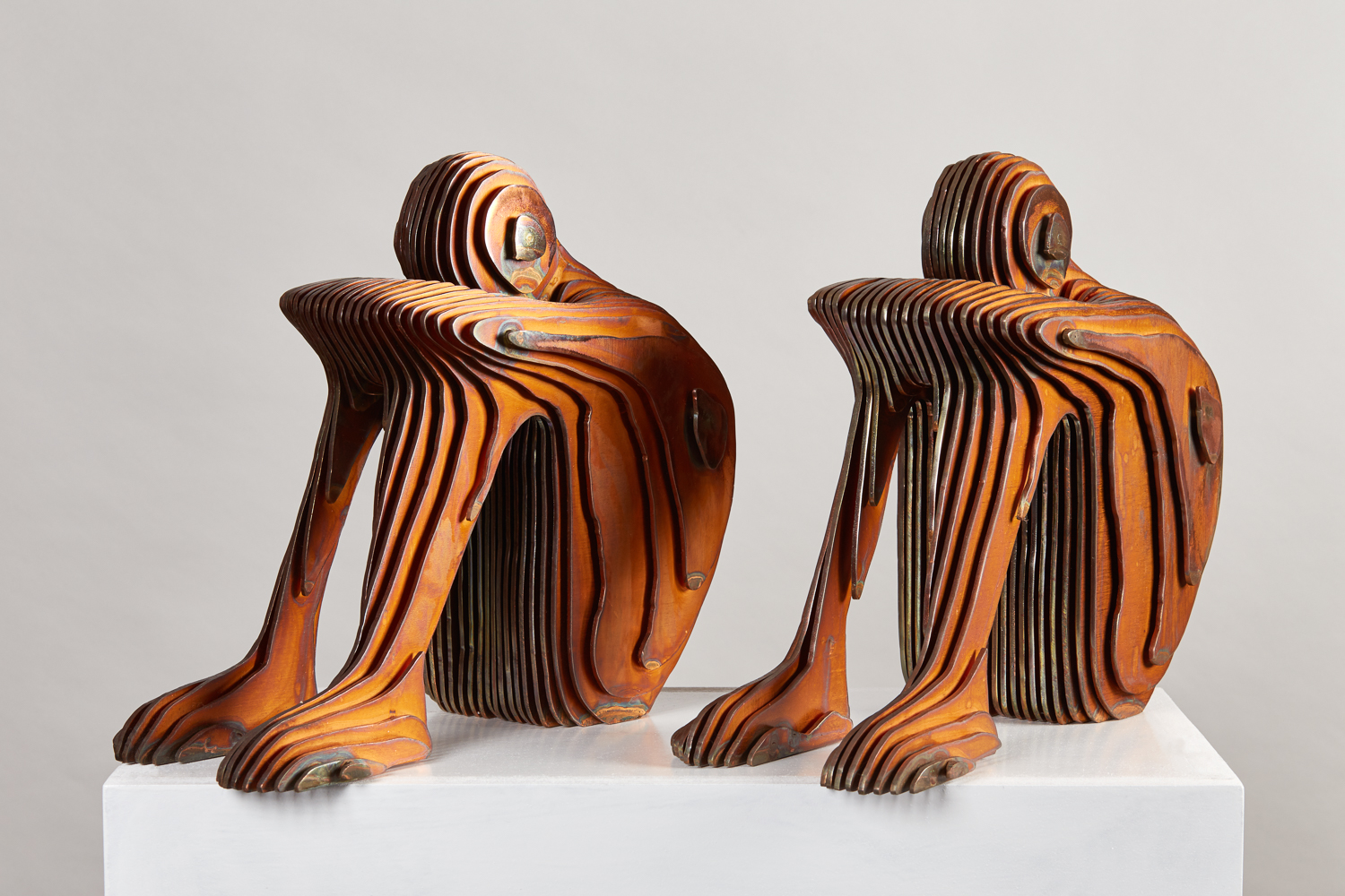 2016 One IV x 2 each 35cm x 30cm x 15cm Corten steel; copper plate .jpg