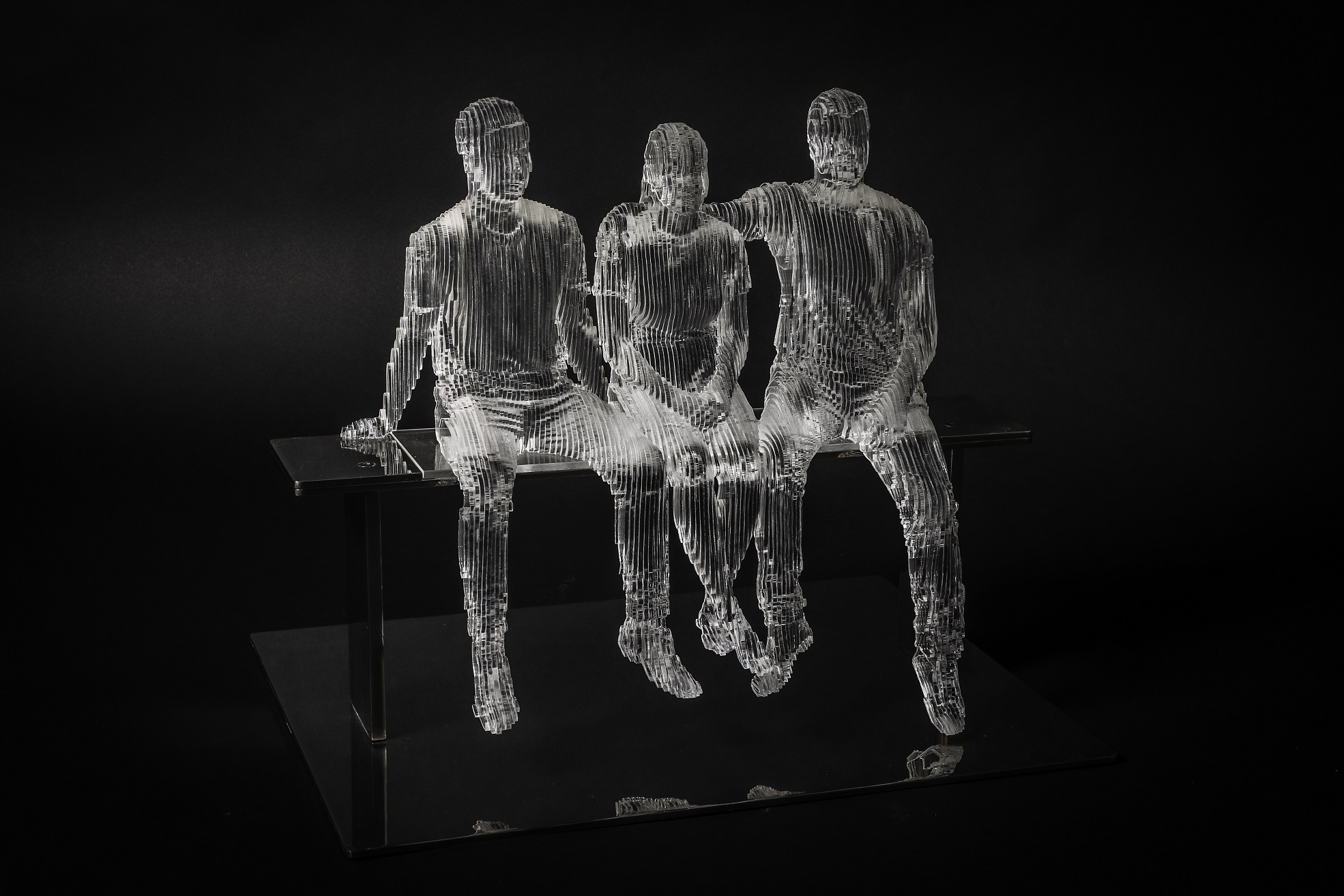2017 Gang of Three 56cm x 40cm x 42cm extruded acrylic on stainless steel.jpg