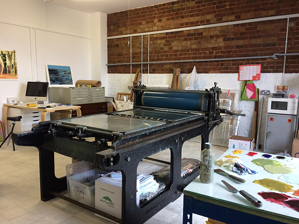 Jane's wonderful old printing press used to create her oil paintings!