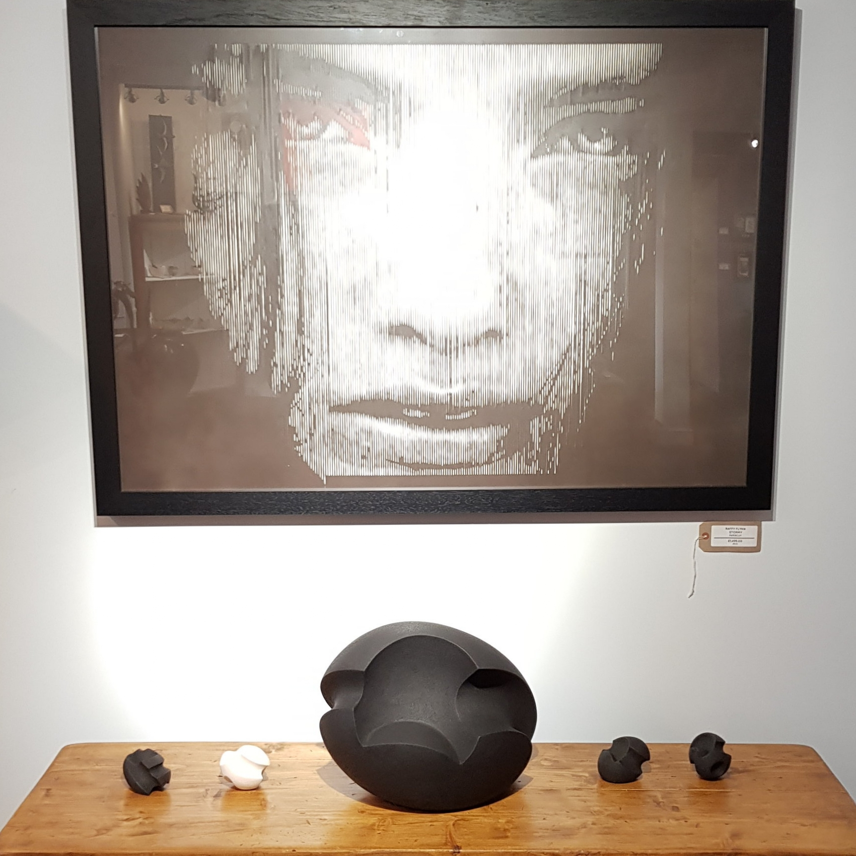 James Oughtibridge award winning ceramics sitting wonderfully with a Raffy Flynn papercut.