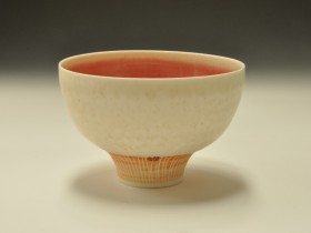 Pink & Ash glazed bowl with incised foot. 11.5cms dia. .JPG