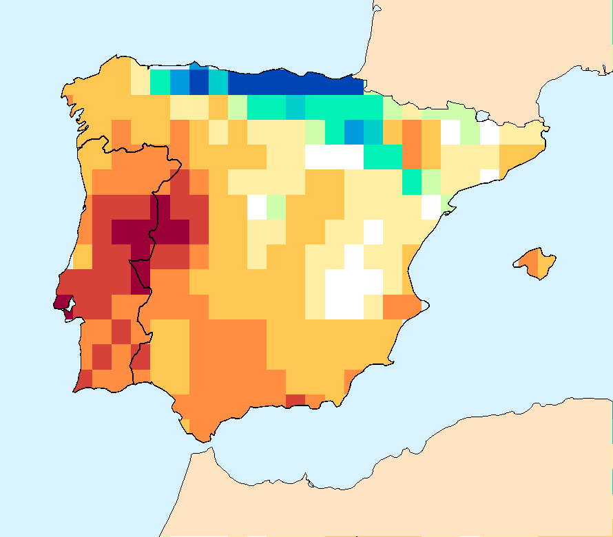Composite water anomaly index   map for Spain and Portugal (January-December2015).