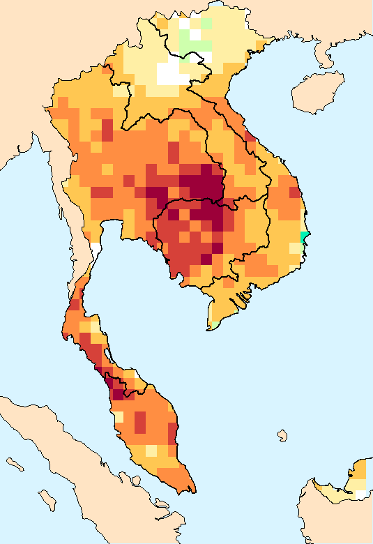Composite water anomaly index   map for Southeast Asia (April-September2015).