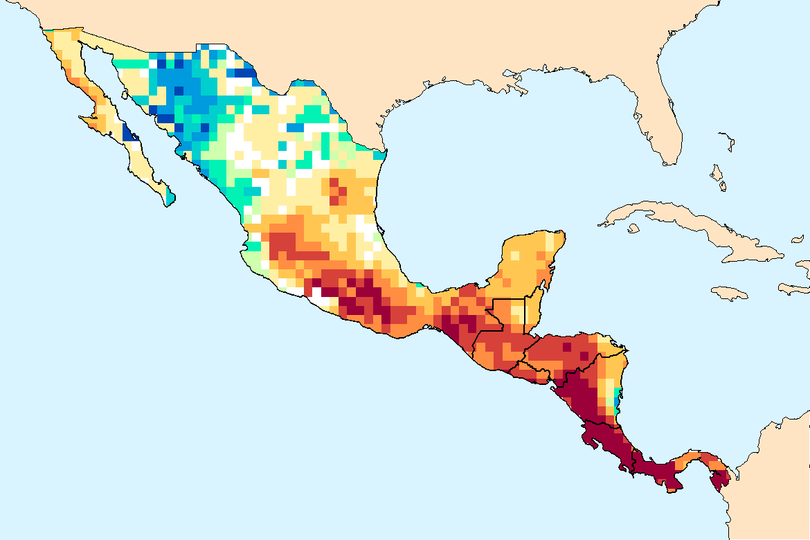 WSIM     Composite Water AnomalyIndex   Map for Mexico (July -December 2015).